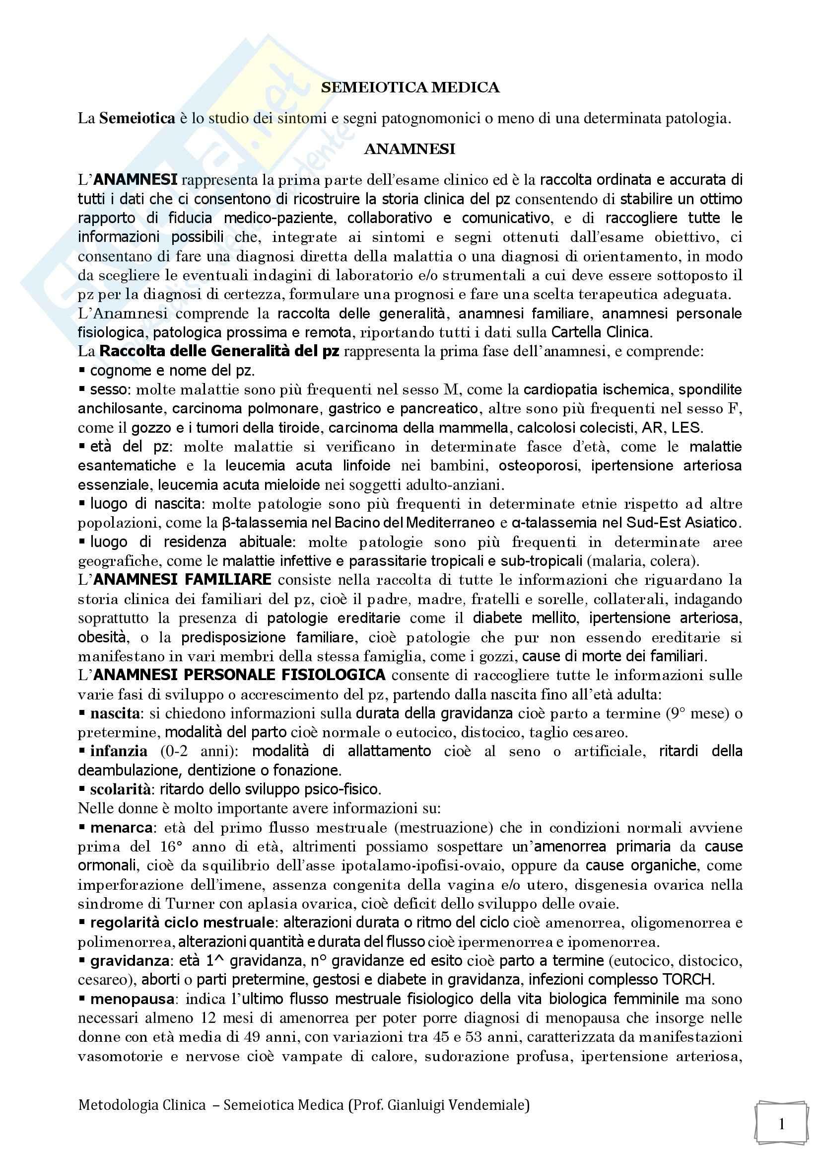 Anamnesi - Semeiotica medica
