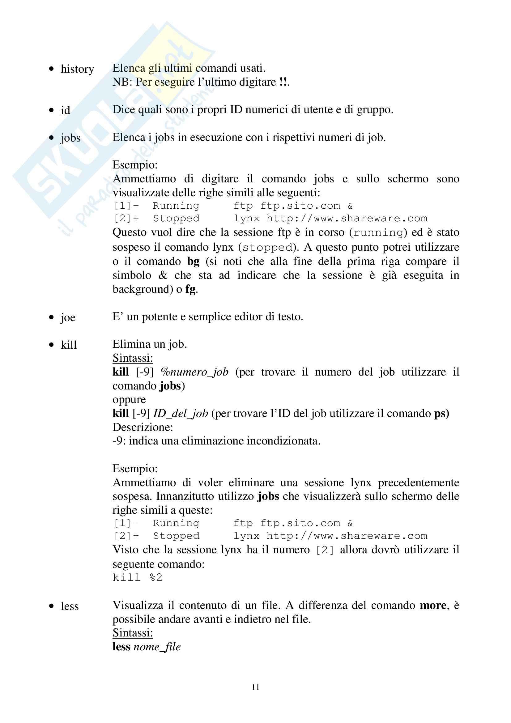 Elementi di informatica e programmazione - i principali comandi di Linux Pag. 11