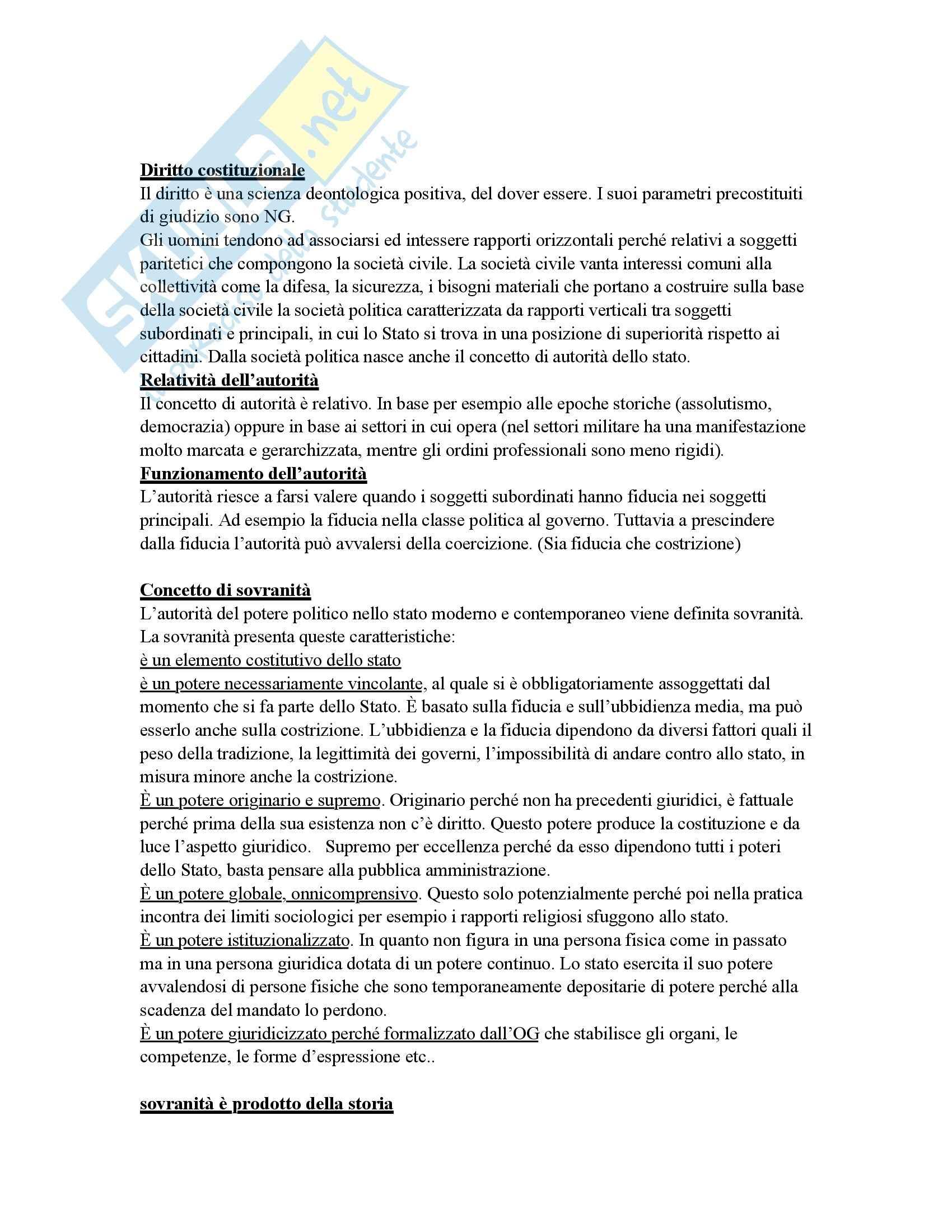 appunto S. Ceccanti Diritto costituzionale italiano e comparato