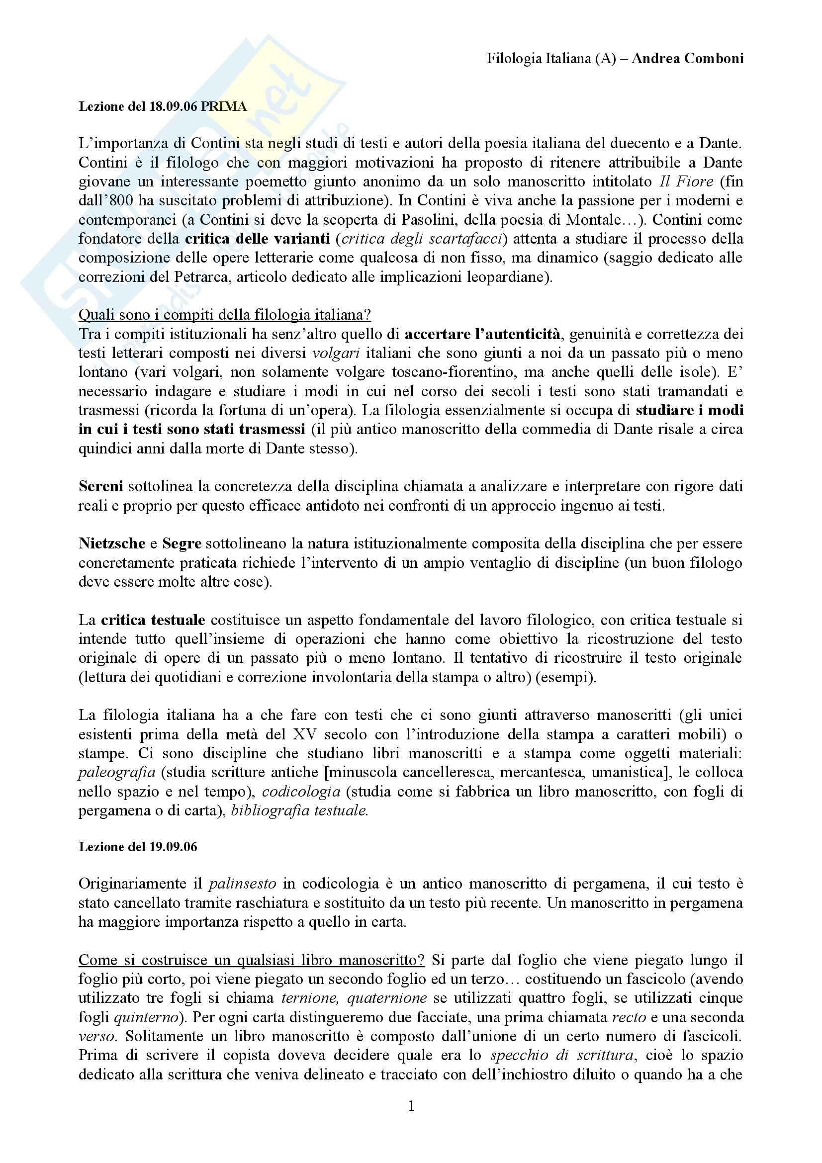 Filologia italiana - lezioni