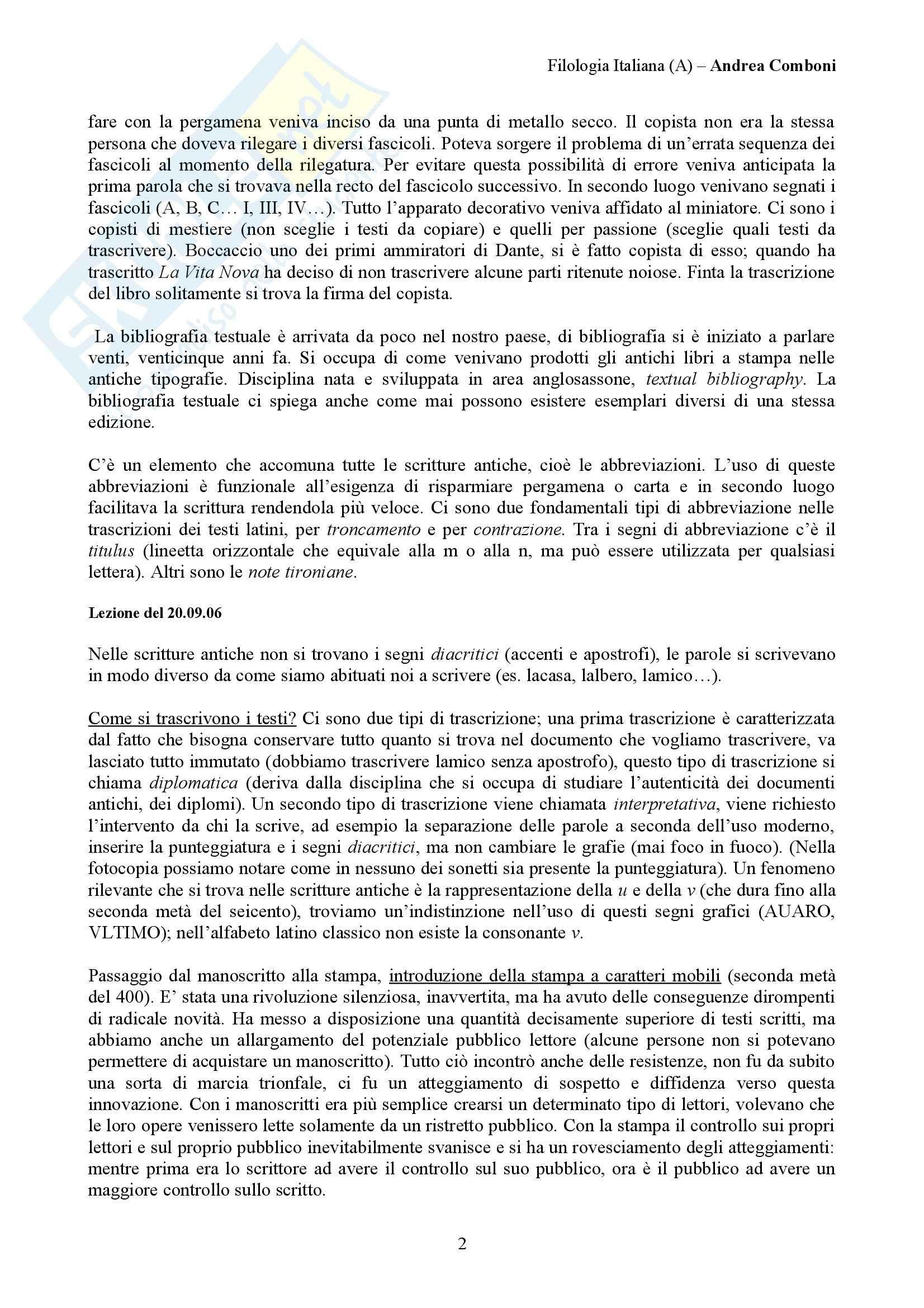Filologia italiana - lezioni Pag. 2