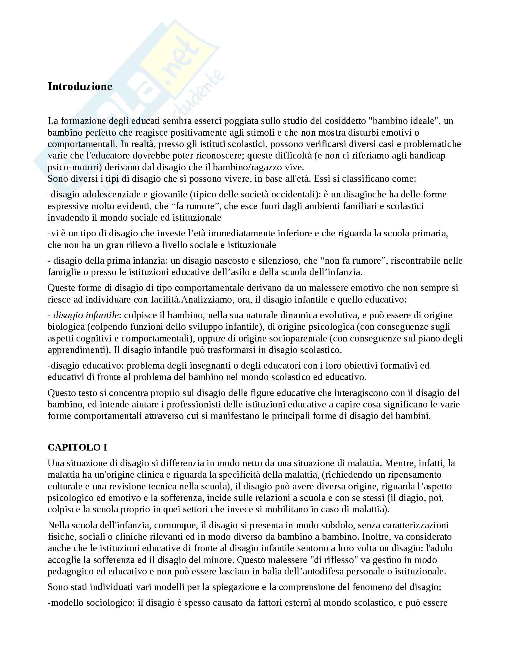 Riassunto per l'esame di Pedagogia, prof. Gritti, libro consigliato Il disagio educativo al nido e alla scuola dell'infanzia di Giuseppe Nicolodi