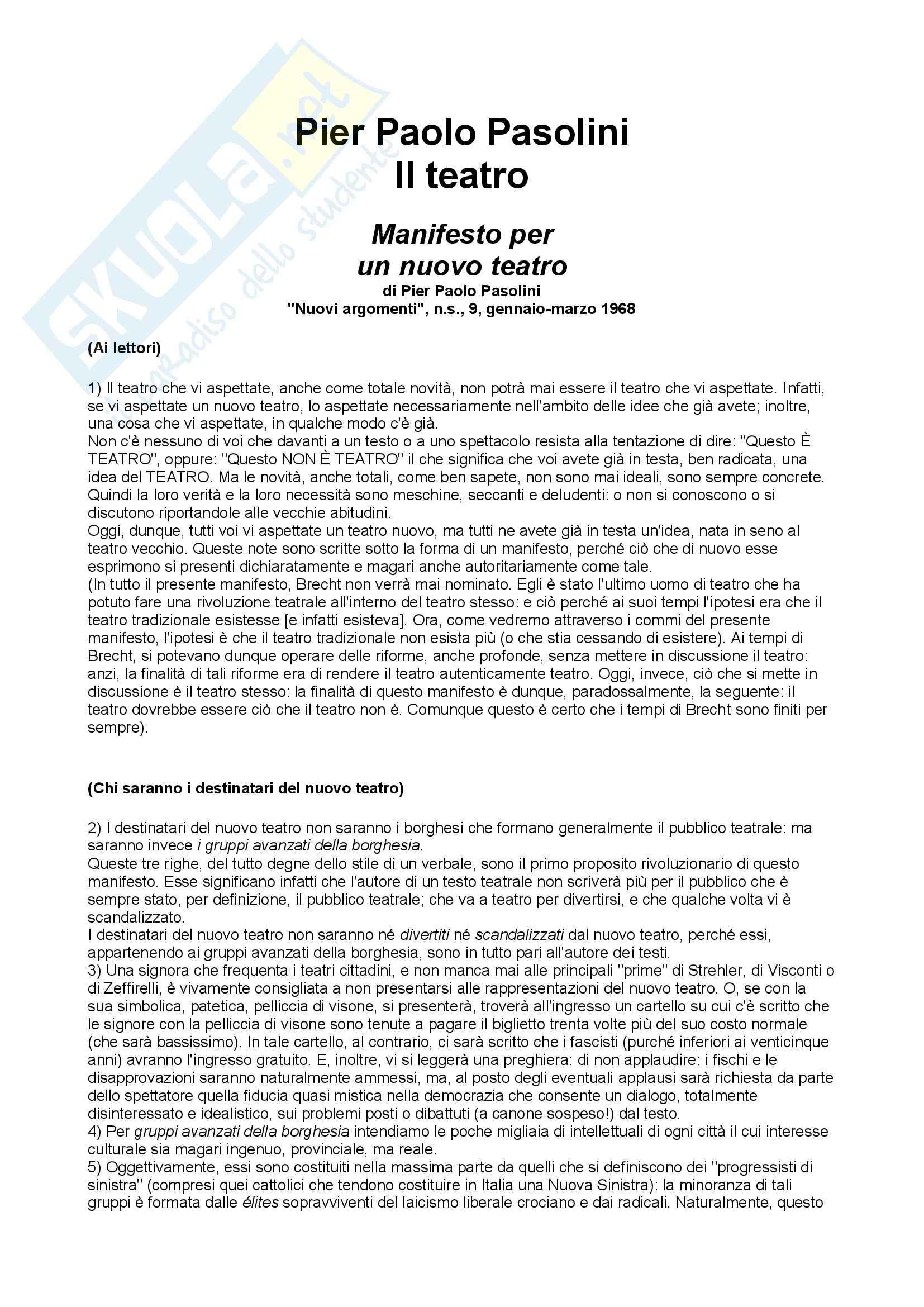 Manifesto per un nuovo teatro, Pasolini - Appunti