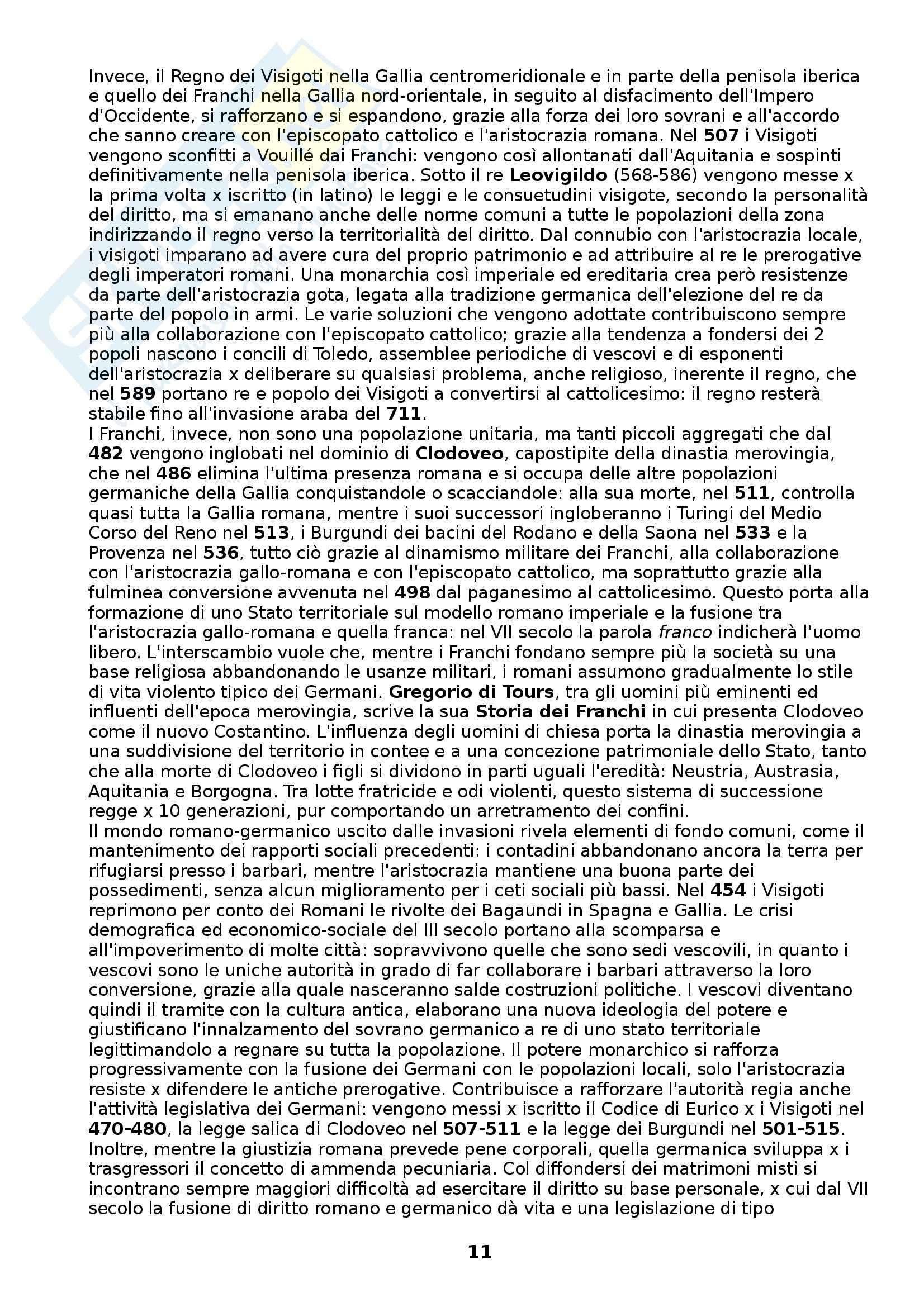 Riassunto esame Storia medievale, prof. Figliuolo, libro consigliato Medioevo, I caratteri originali di un'età di transizione, Vitolo Pag. 11