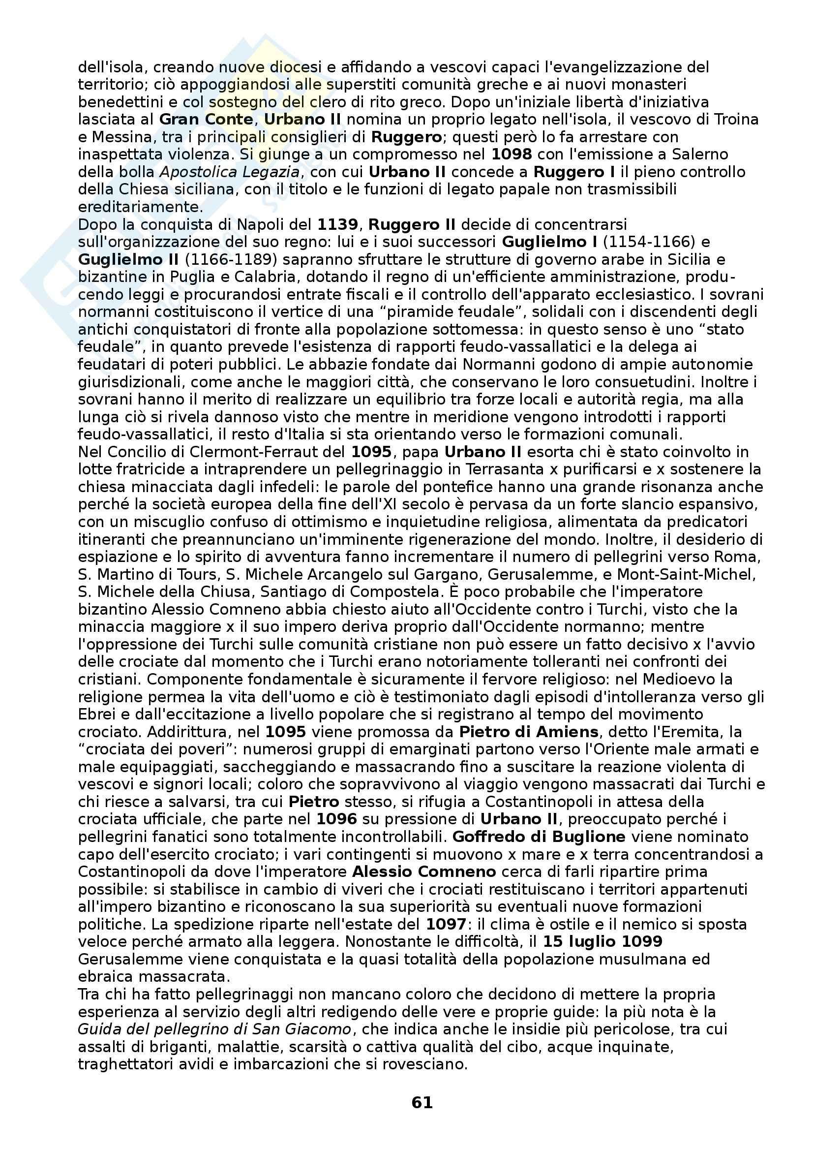 Riassunto esame Storia medievale, prof. Figliuolo, libro consigliato Medioevo, I caratteri originali di un'età di transizione, Vitolo Pag. 61