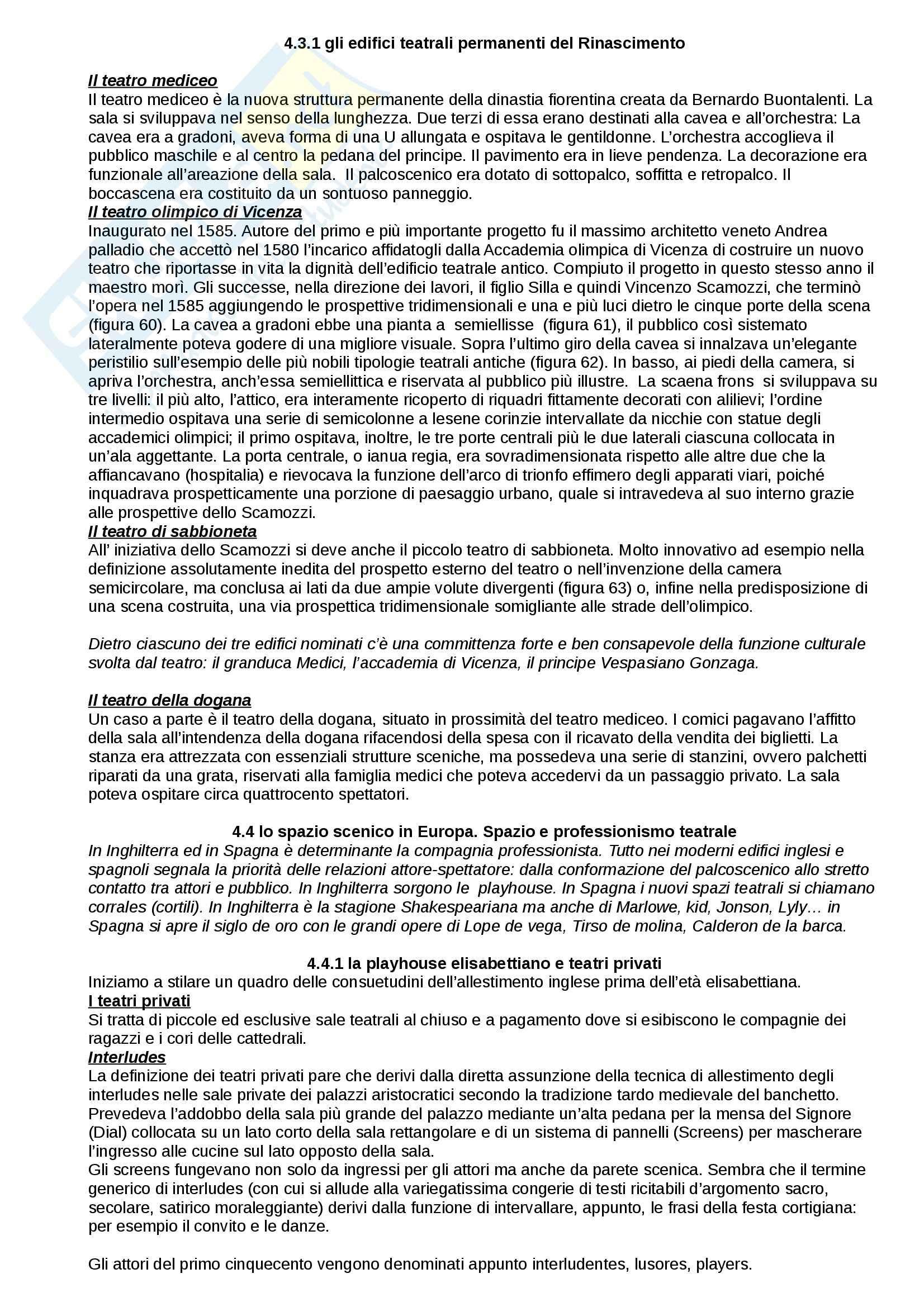 Riassunto esame Storia del Teatro, prof. Fazio, libro consigliato Lo Spazio Scenico dai Greci alle Avanguardie, Sinisi, Innamorati