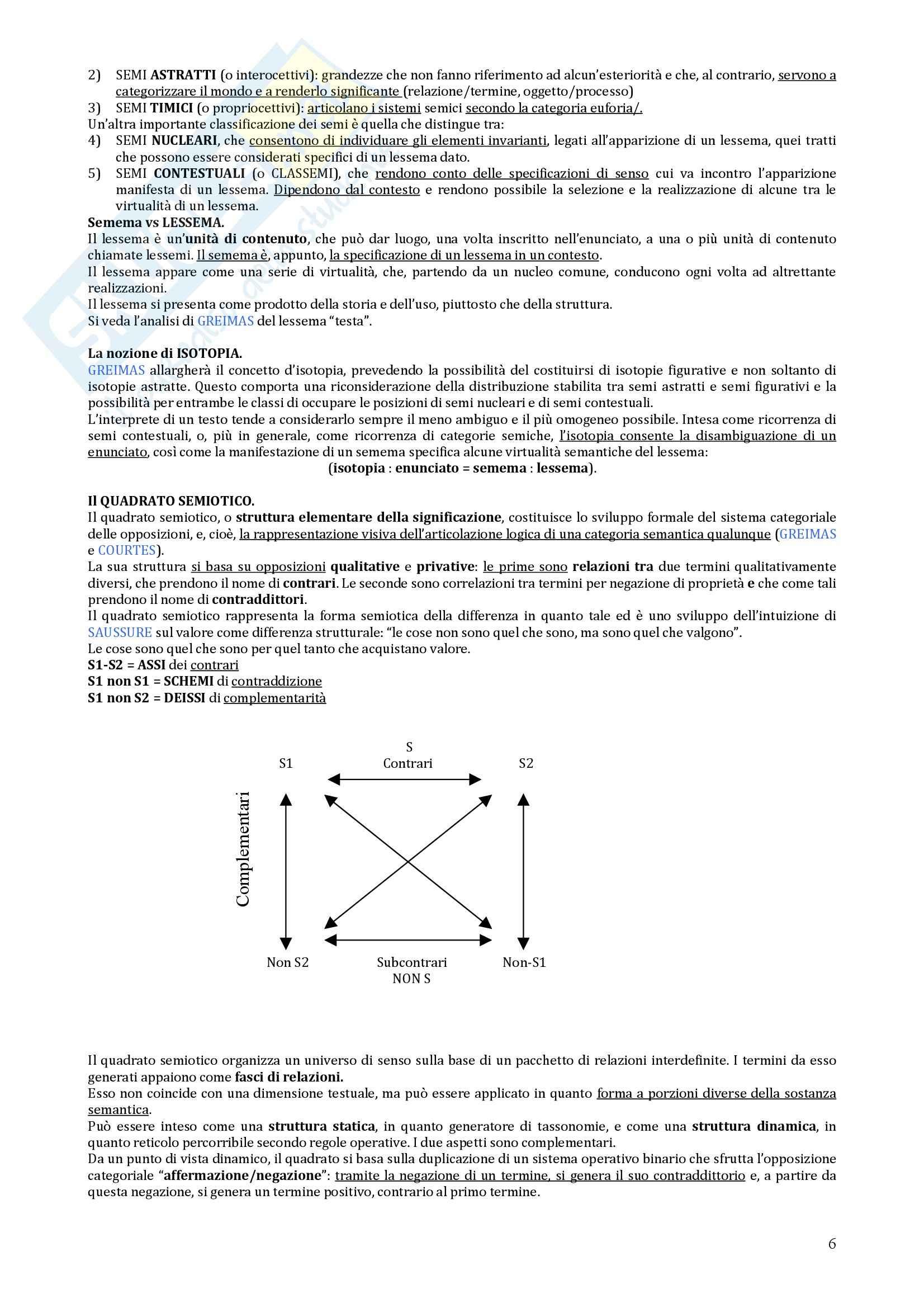 Riassunto esame Semiotica Generale, prof. Marsciani, libro consigliato Elementi di Semiotica Generativa di Marsciani e Zinna Pag. 6