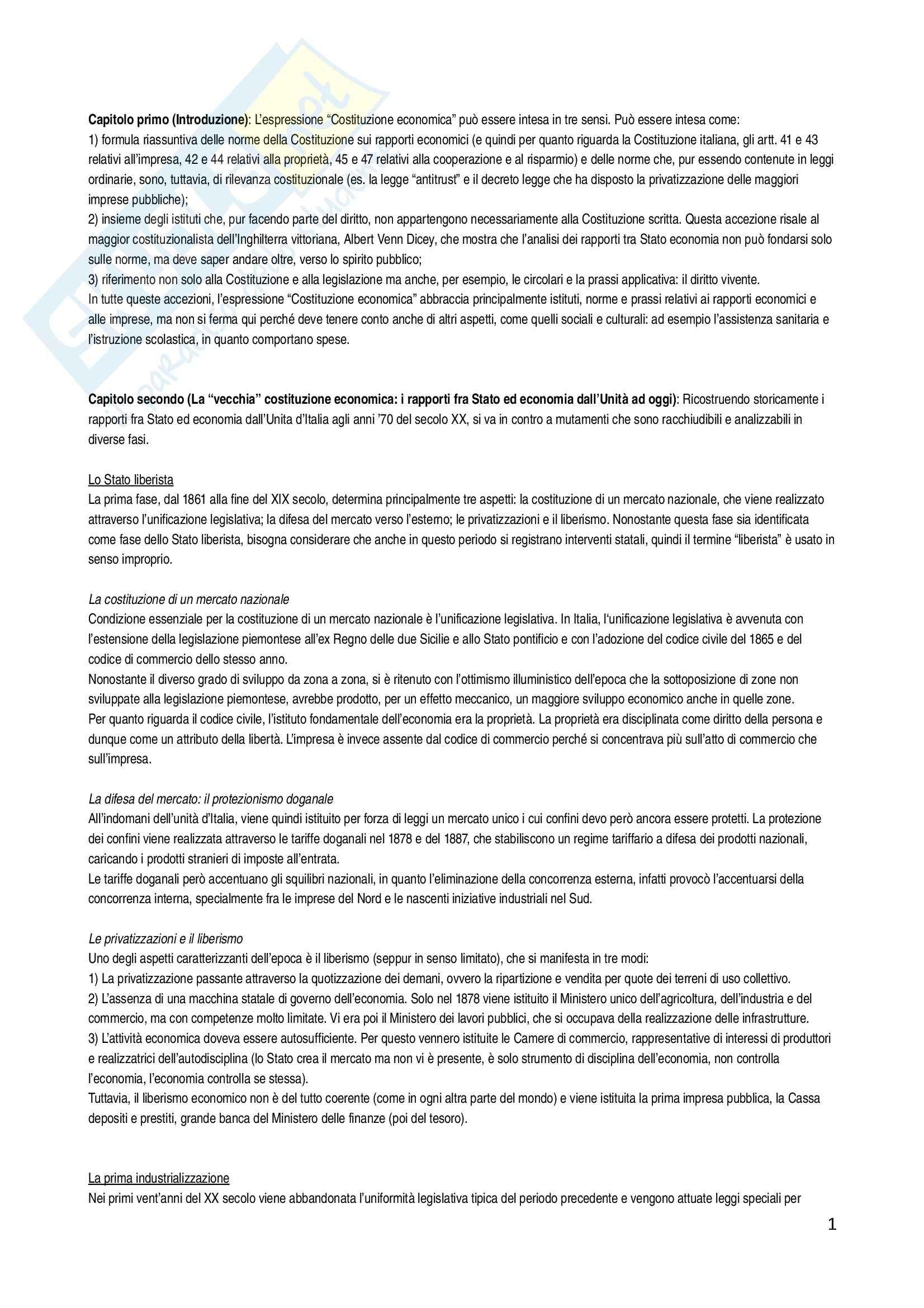 Riassunto esame Diritto Pubblico Dell'economia, prof. Cassella, libro consigliato La nuova Costituzione, Cassese