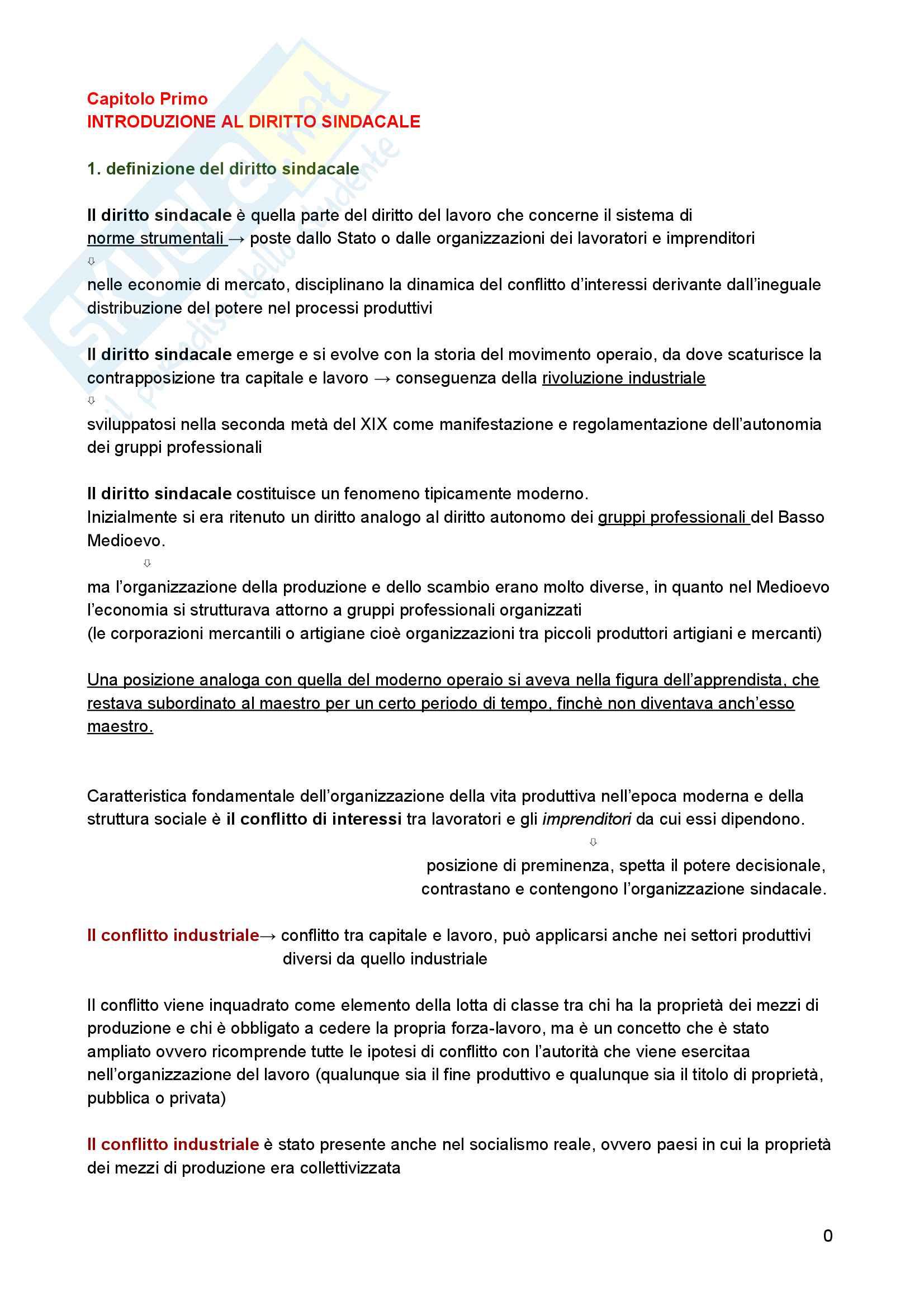 Riassunto esame diritto del lavoro, Prof. Zoli, libro consigliato Diritto Sindacale