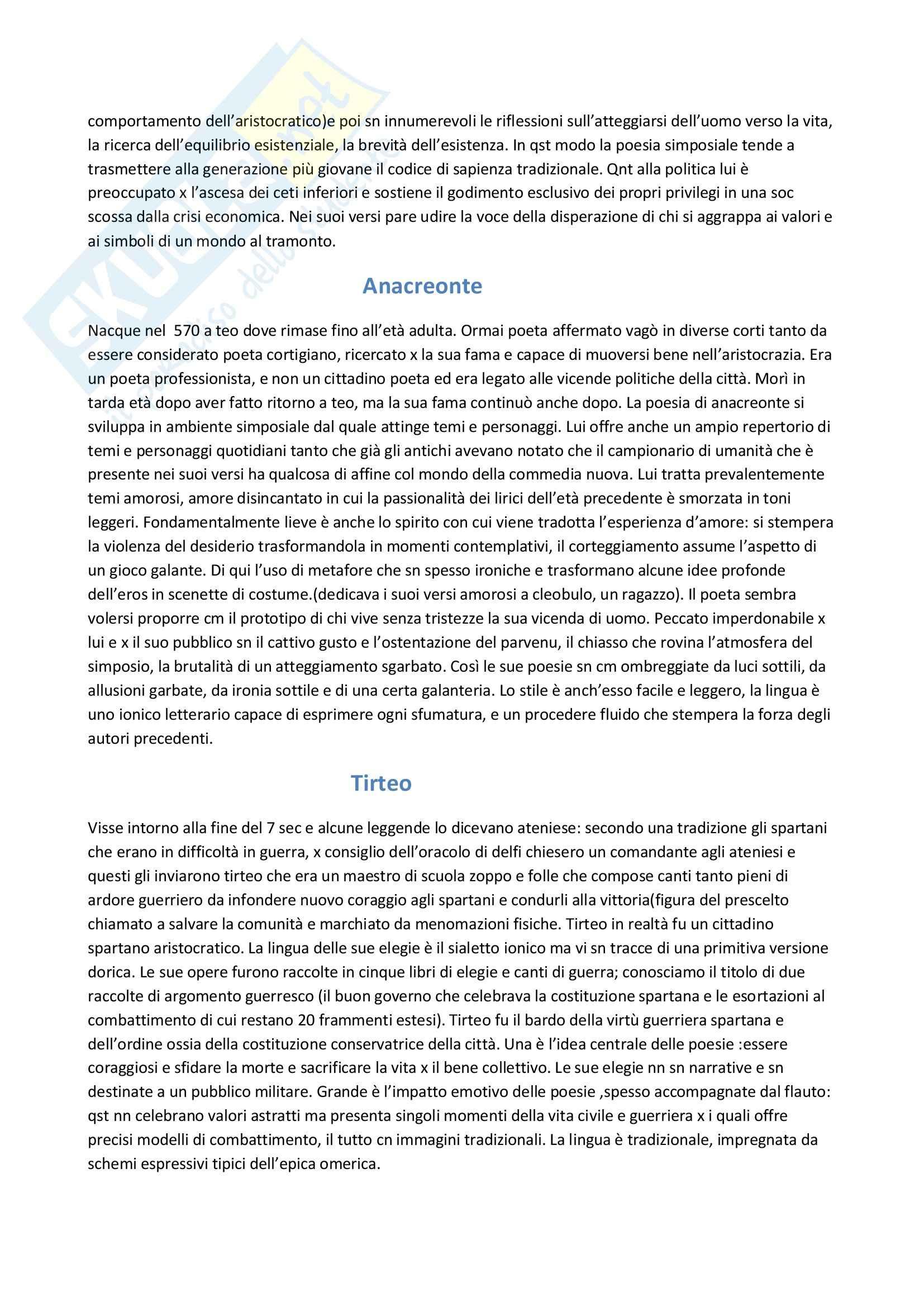 Parte istituzionale, Letteratura greca Pag. 11