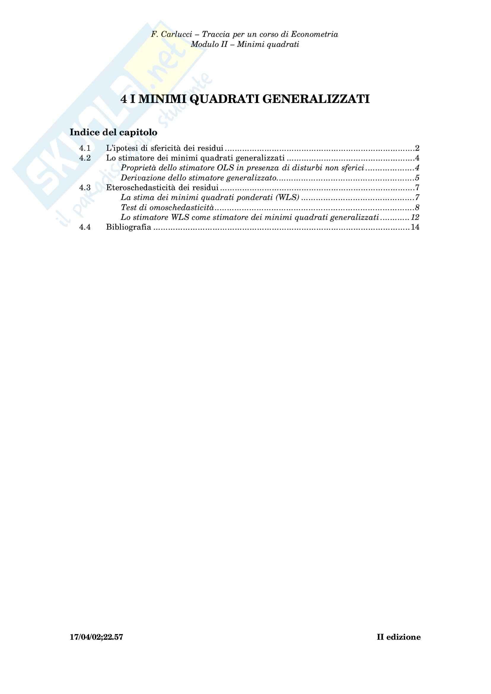 Econometria - i minimi quadrati generalizzati