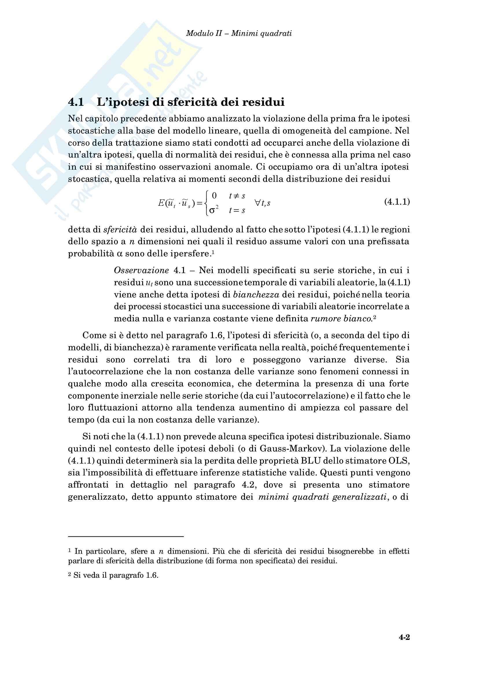 Econometria - i minimi quadrati generalizzati Pag. 2