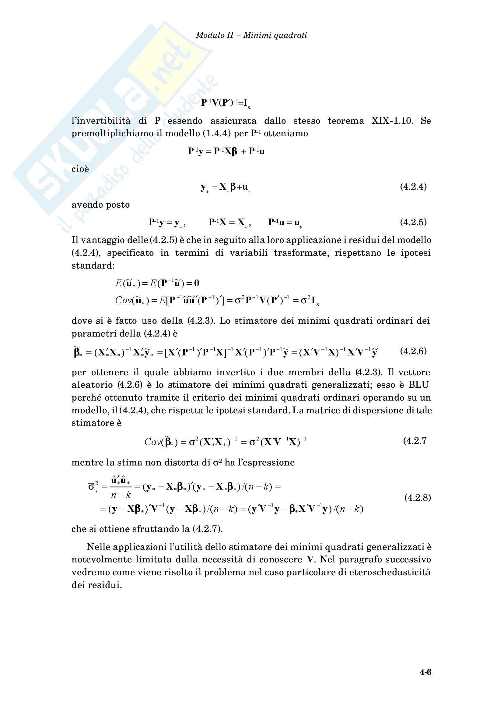 Econometria - i minimi quadrati generalizzati Pag. 6