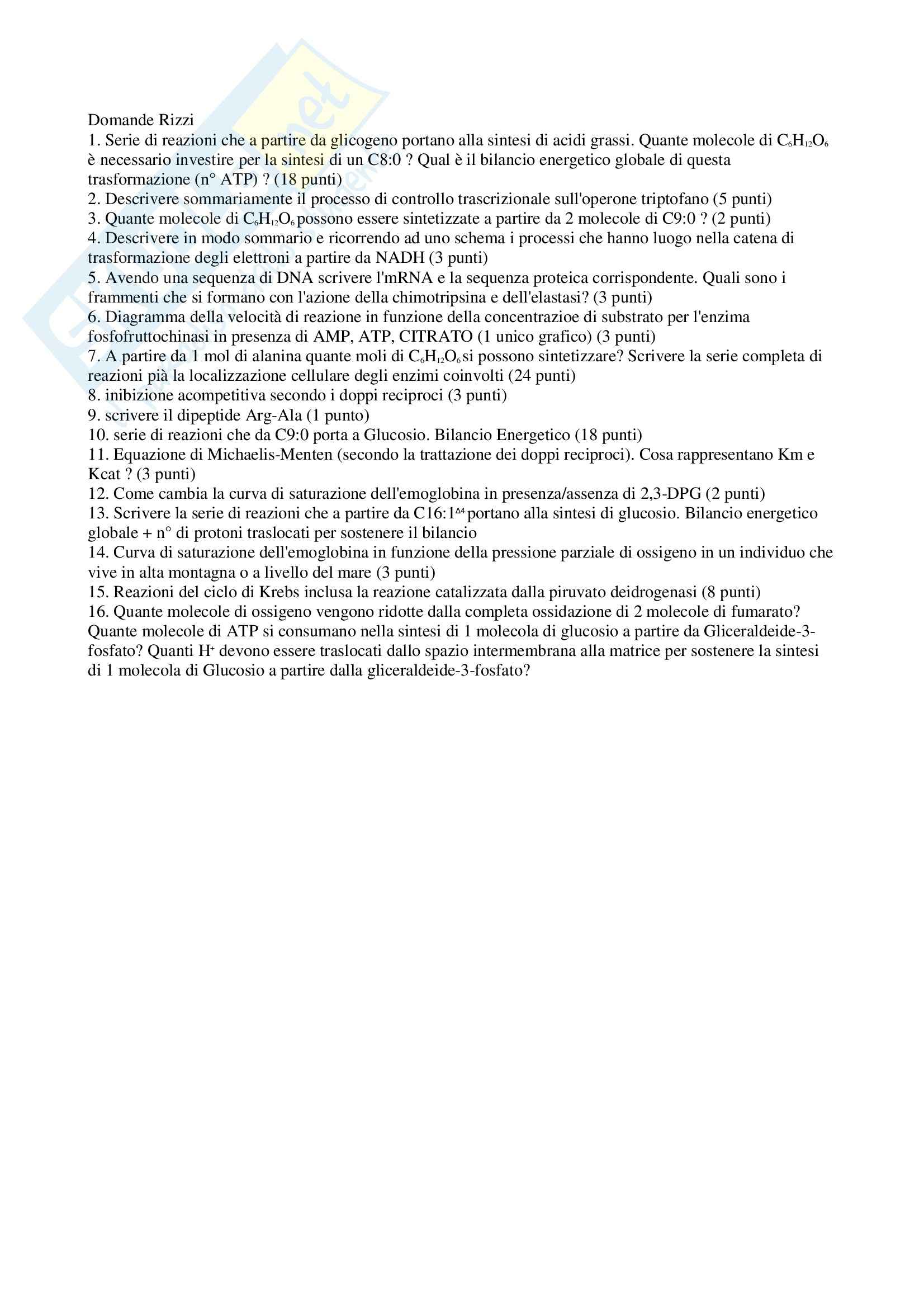 Biochimica applicata - Domande