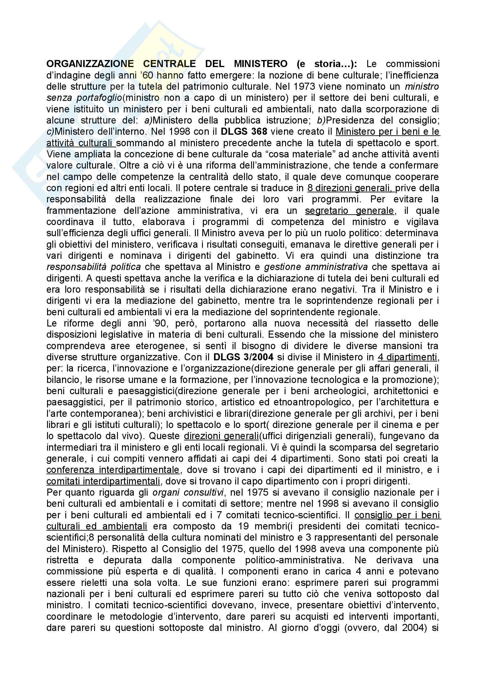 Legislazione dei beni culturali - l'organizzazione centrale del Ministero