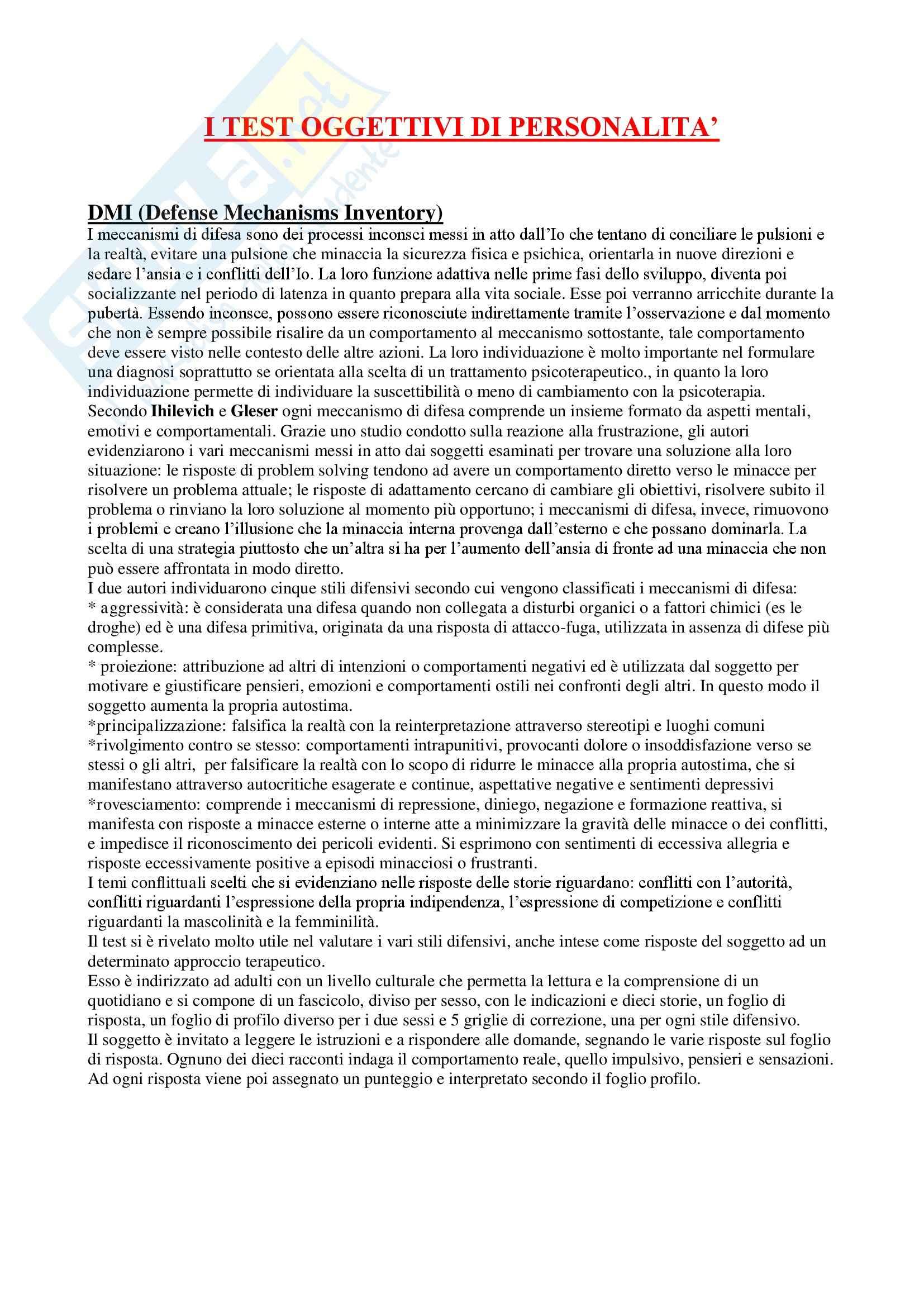 Metodi e tecniche psicodiagnostiche - test oggettivi di personalità