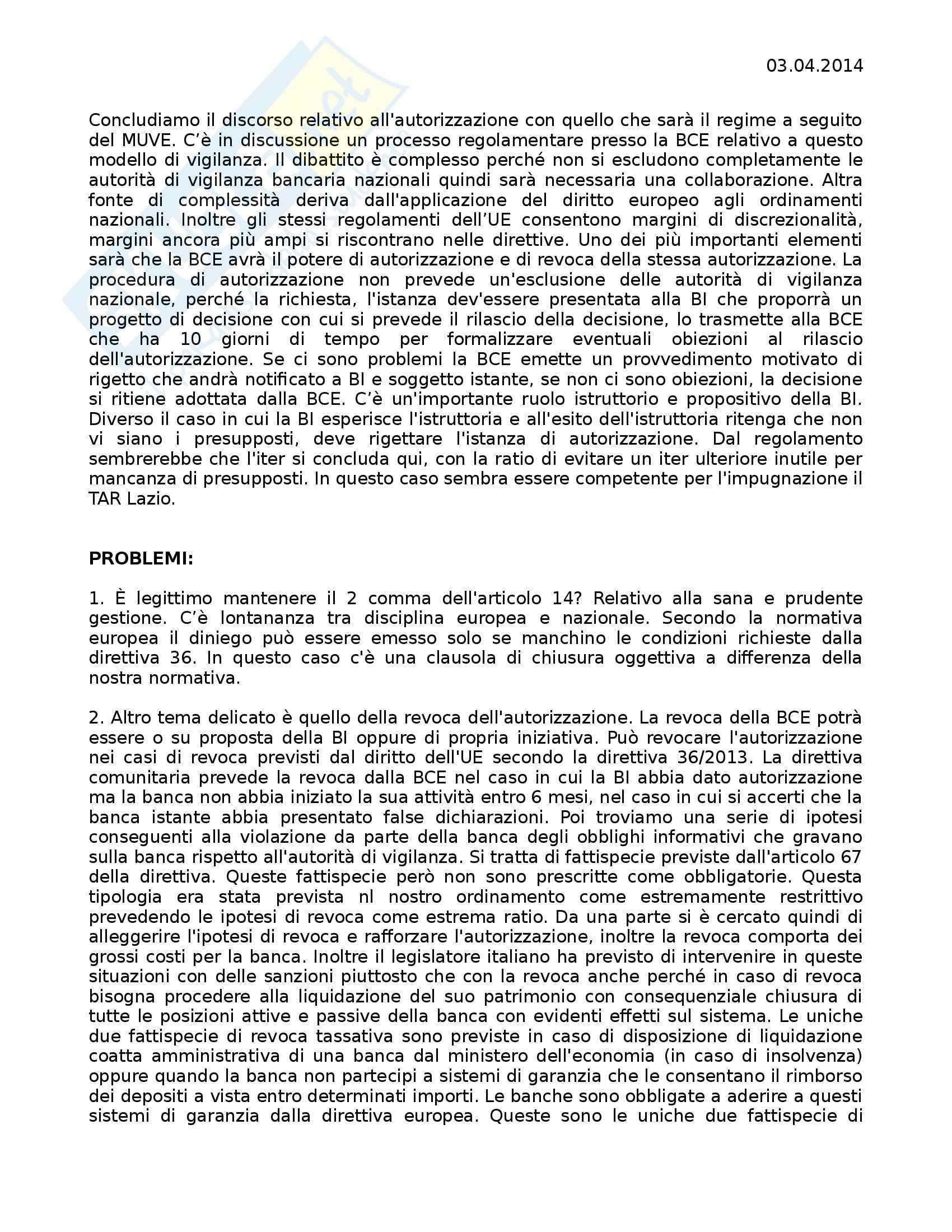 Diritto bancario - meccanismo unico di vigilanza bancaria europea e shadow banking system