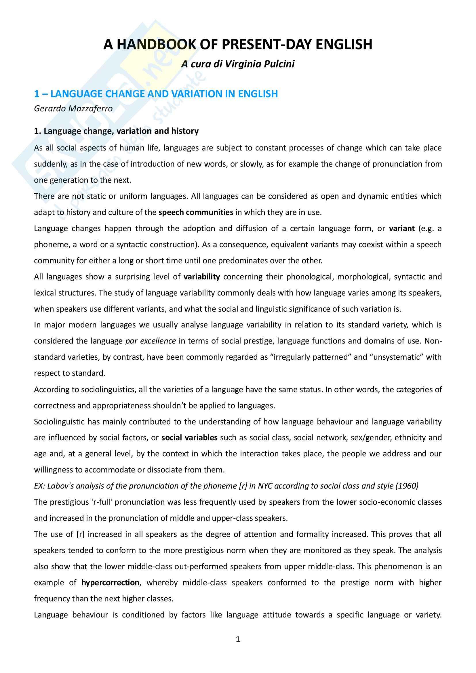 Riassunto esame Linguistica inglese, prof.ssa Maggioni, libro consigliato A handbook of presentday English, Pulcini
