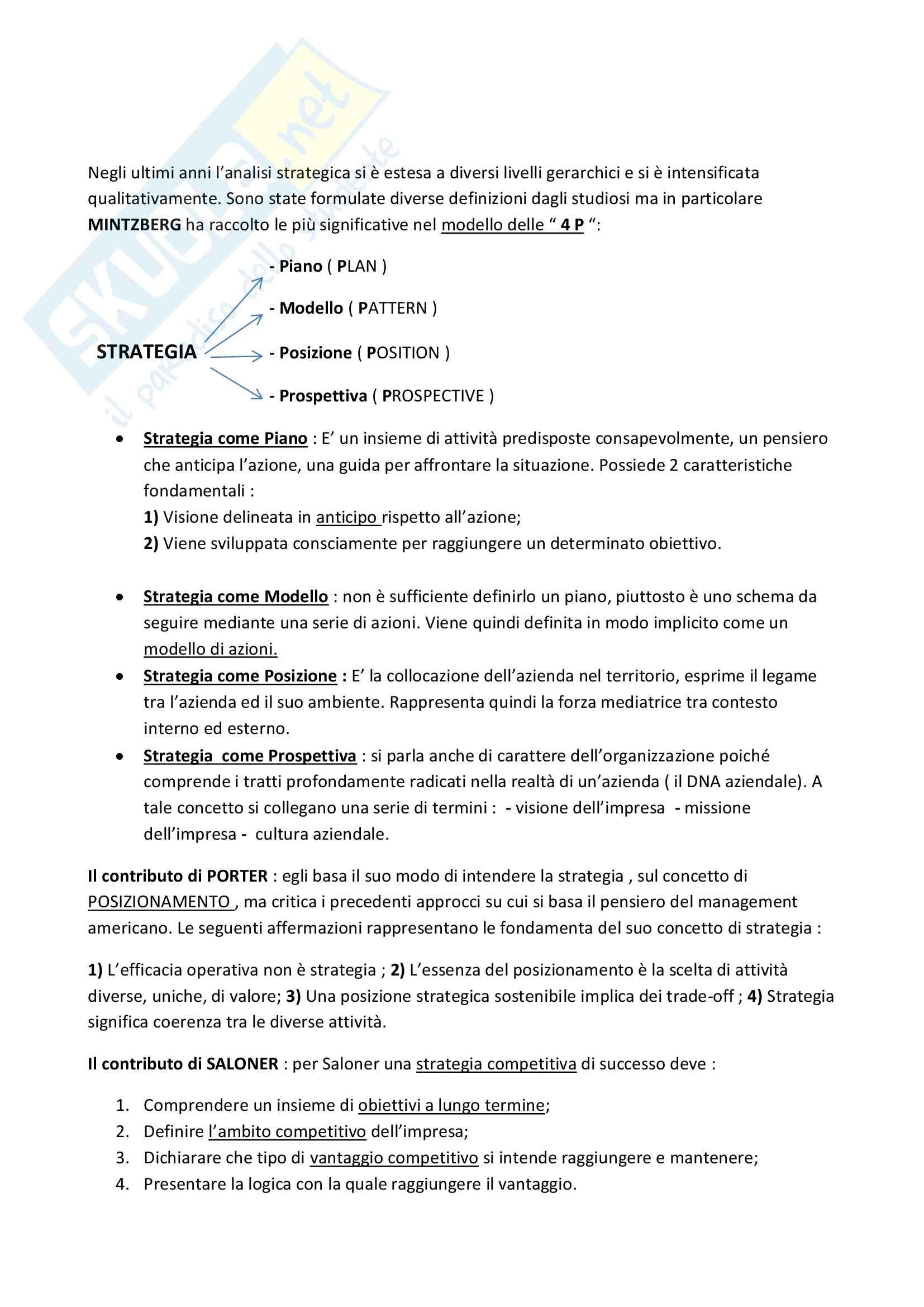 Riassunto esame Strategia e Governo d'Azienda, prof. Marinò, libro consigliato Strategia Aziendale e Vantaggio Competitivo, Bertini, Invernizzi