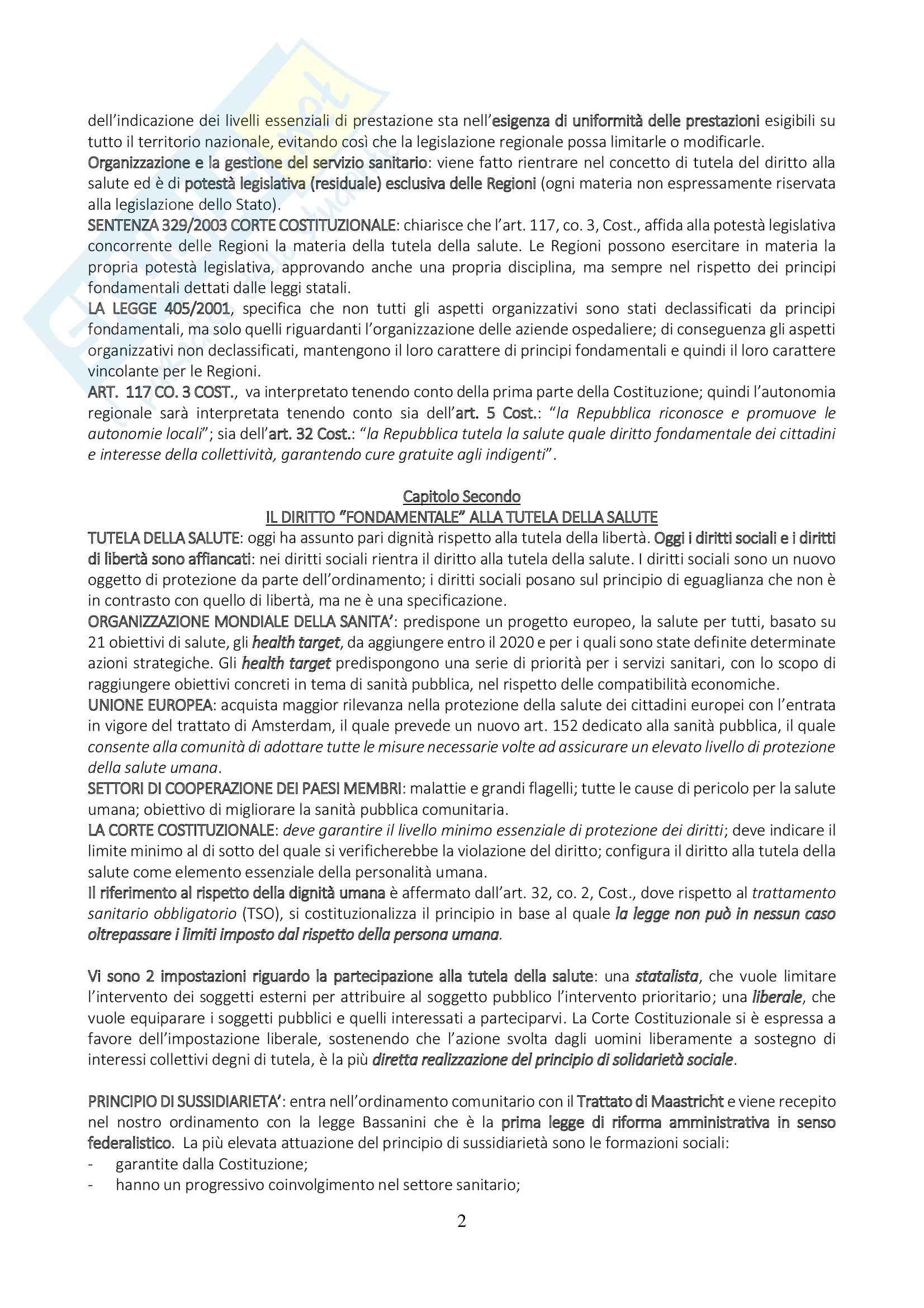 Tutela della salute ed organizzazione sanitaria nazionale e regionale, Diritto sanitario Pag. 2