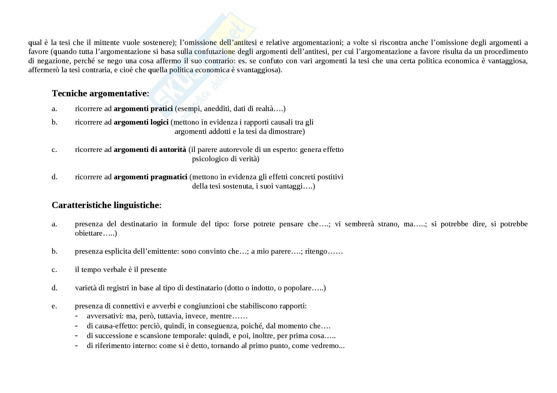 Tecniche espressive e tipologie dei testi - Appunti Pag. 2