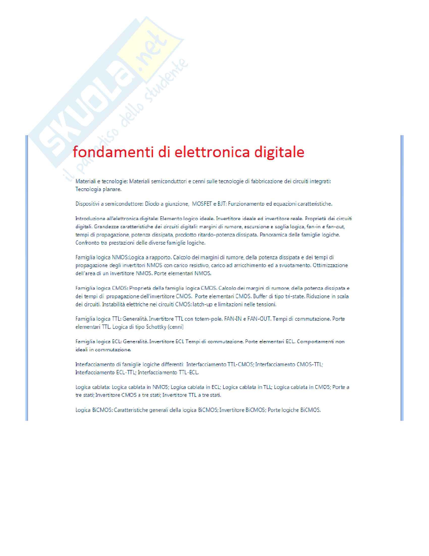 Fondamenti di elettronica digitale teoria + esercizi (Materiale completo per l'esame)