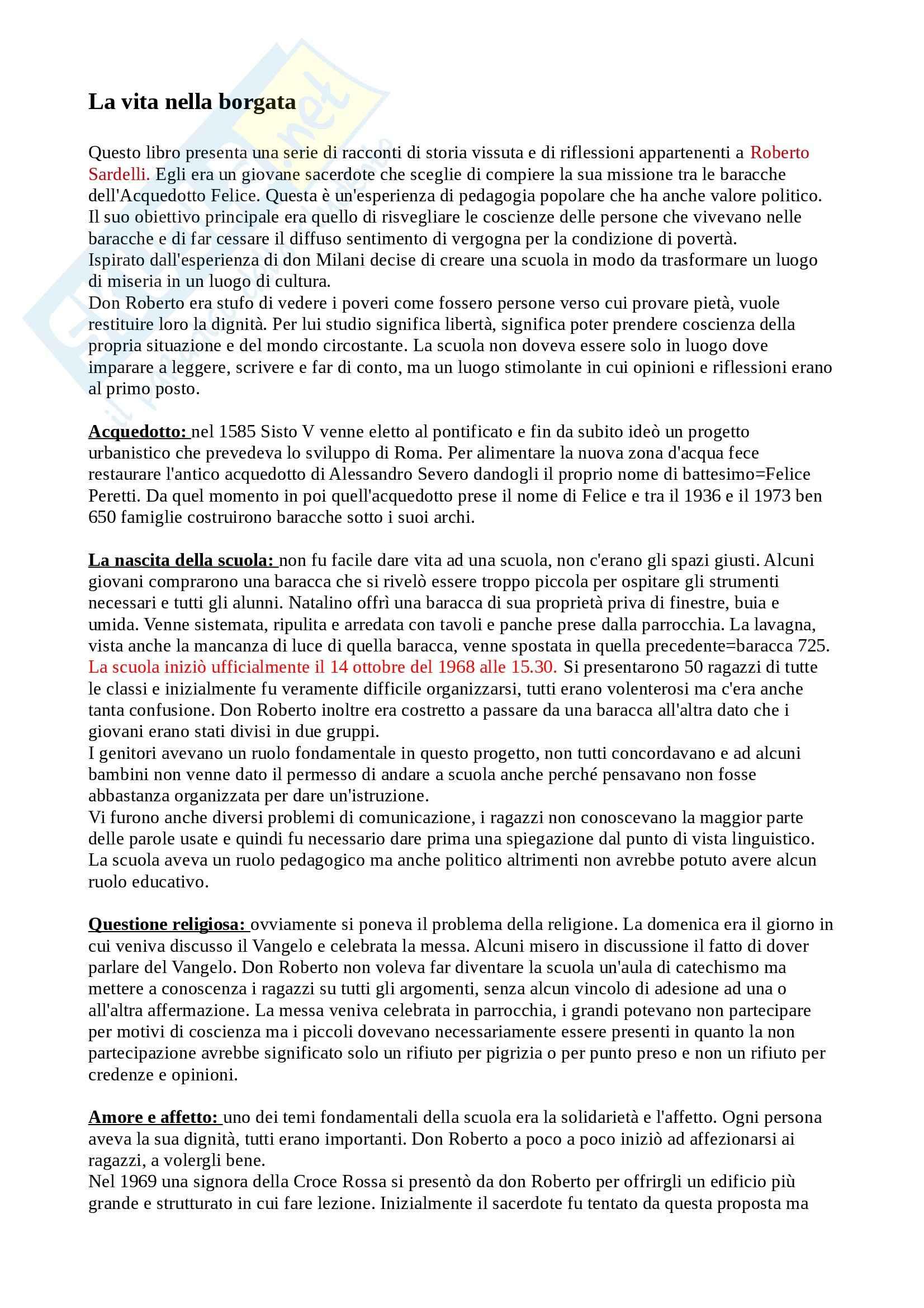 Riassunto esame pedagogia, prof Fiorucci, libro consigliato Vita di Borgata, Sardelli