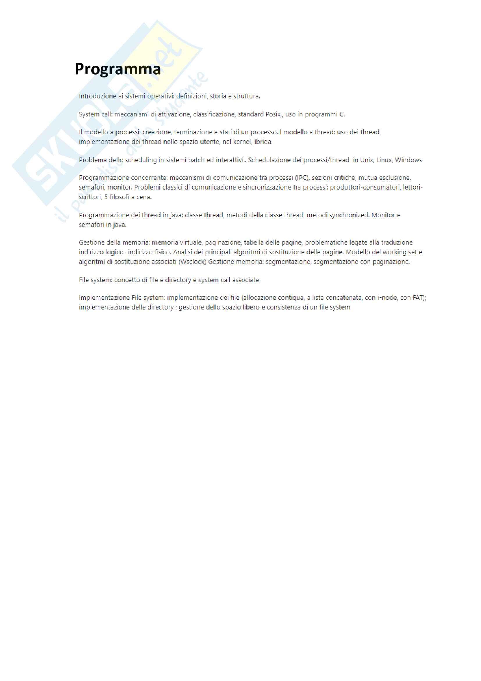 Sistemi operativi - teoria completa