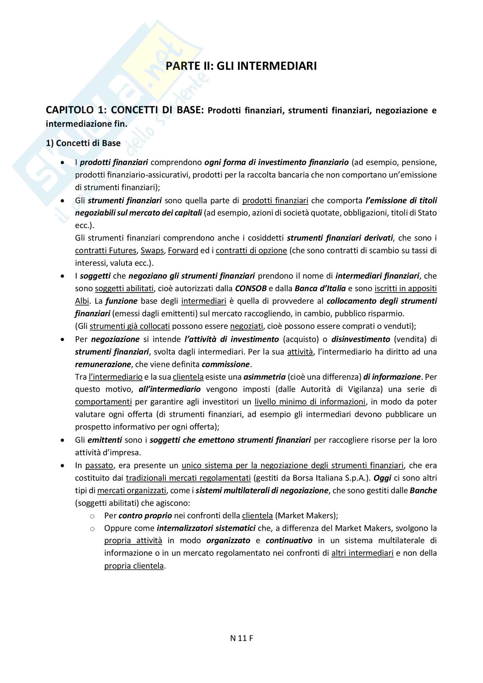 """Riassunto esame Diritto Finanziario, prof. Ciraolo, Libro consigliato """"Manuale di Diritto del Mercato Finanziario"""", Sandro Ambrosino, quarta edizione. Pag. 11"""