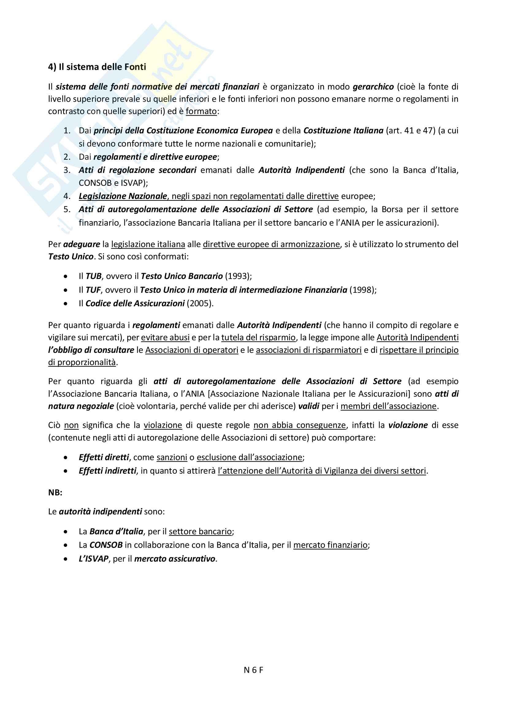 """Riassunto esame Diritto Finanziario, prof. Ciraolo, Libro consigliato """"Manuale di Diritto del Mercato Finanziario"""", Sandro Ambrosino, quarta edizione. Pag. 6"""