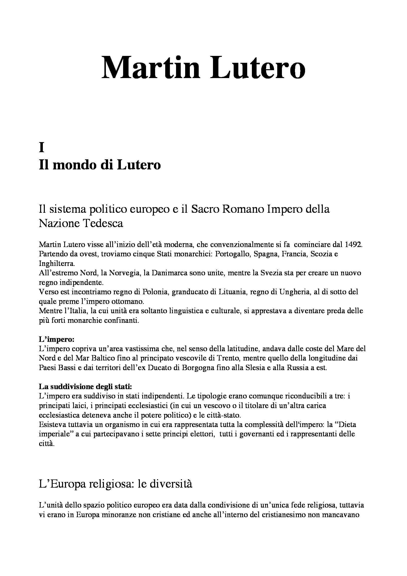Riassunto esame Storia Moderna: Martin Lutero, prof. Dall'Olio