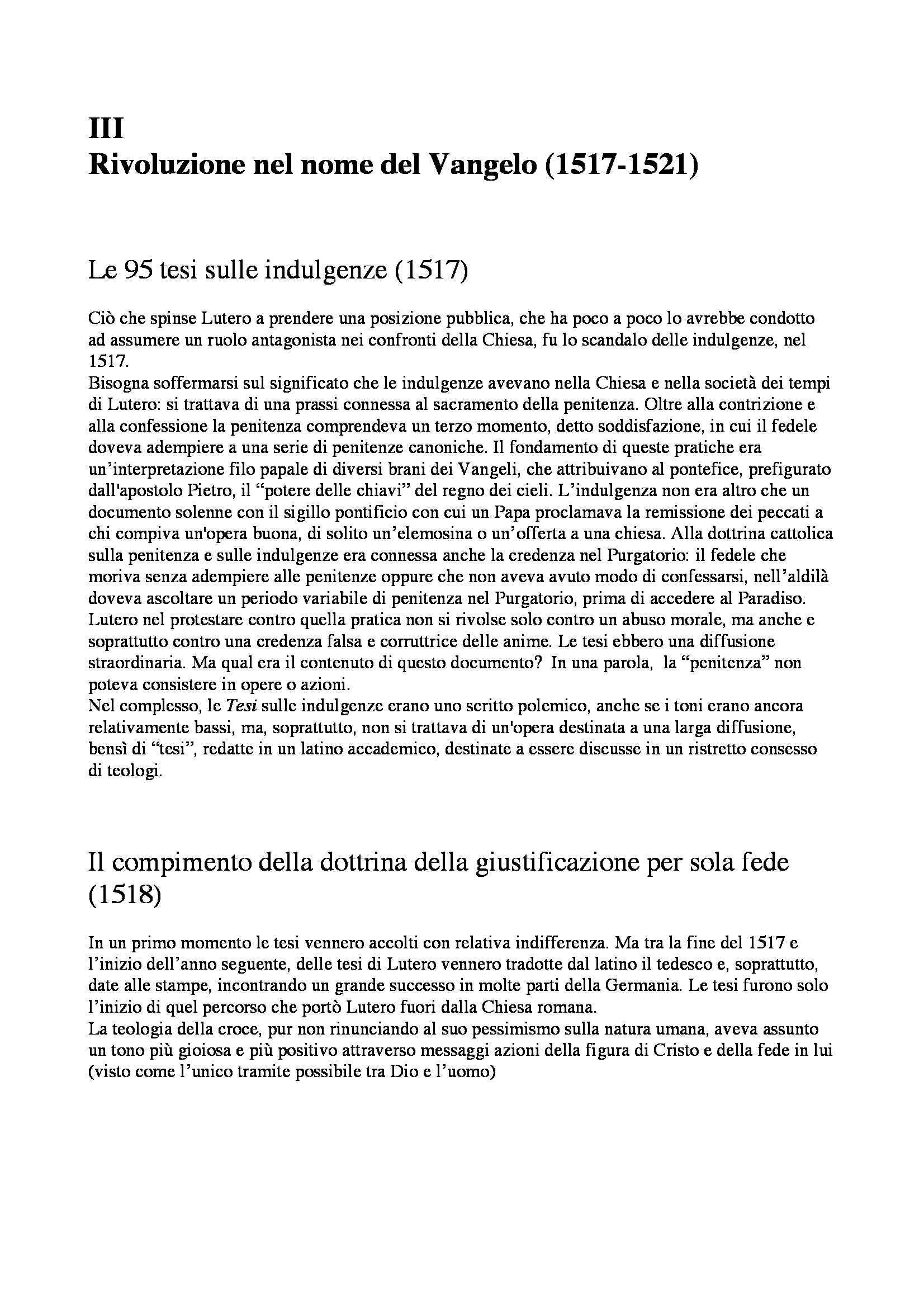 Riassunto esame Storia Moderna: Martin Lutero, prof. Dall'Olio Pag. 6