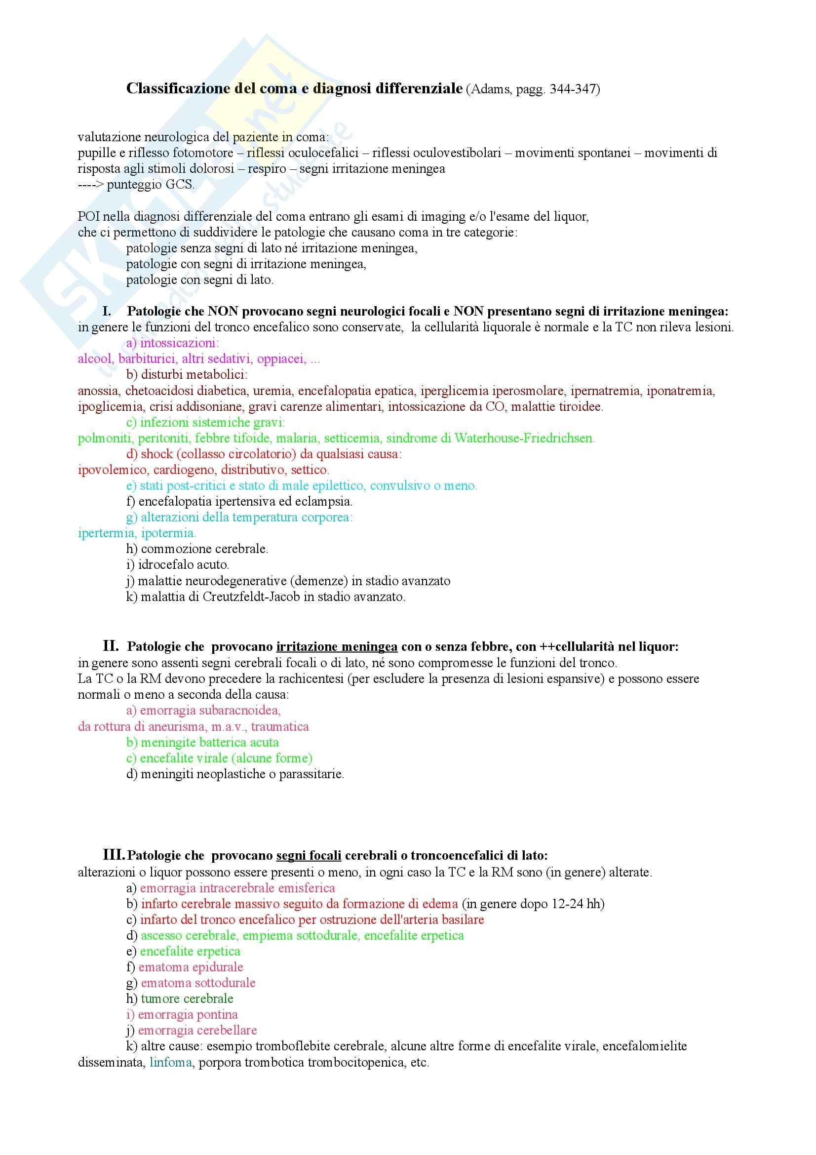 Classificazione del coma