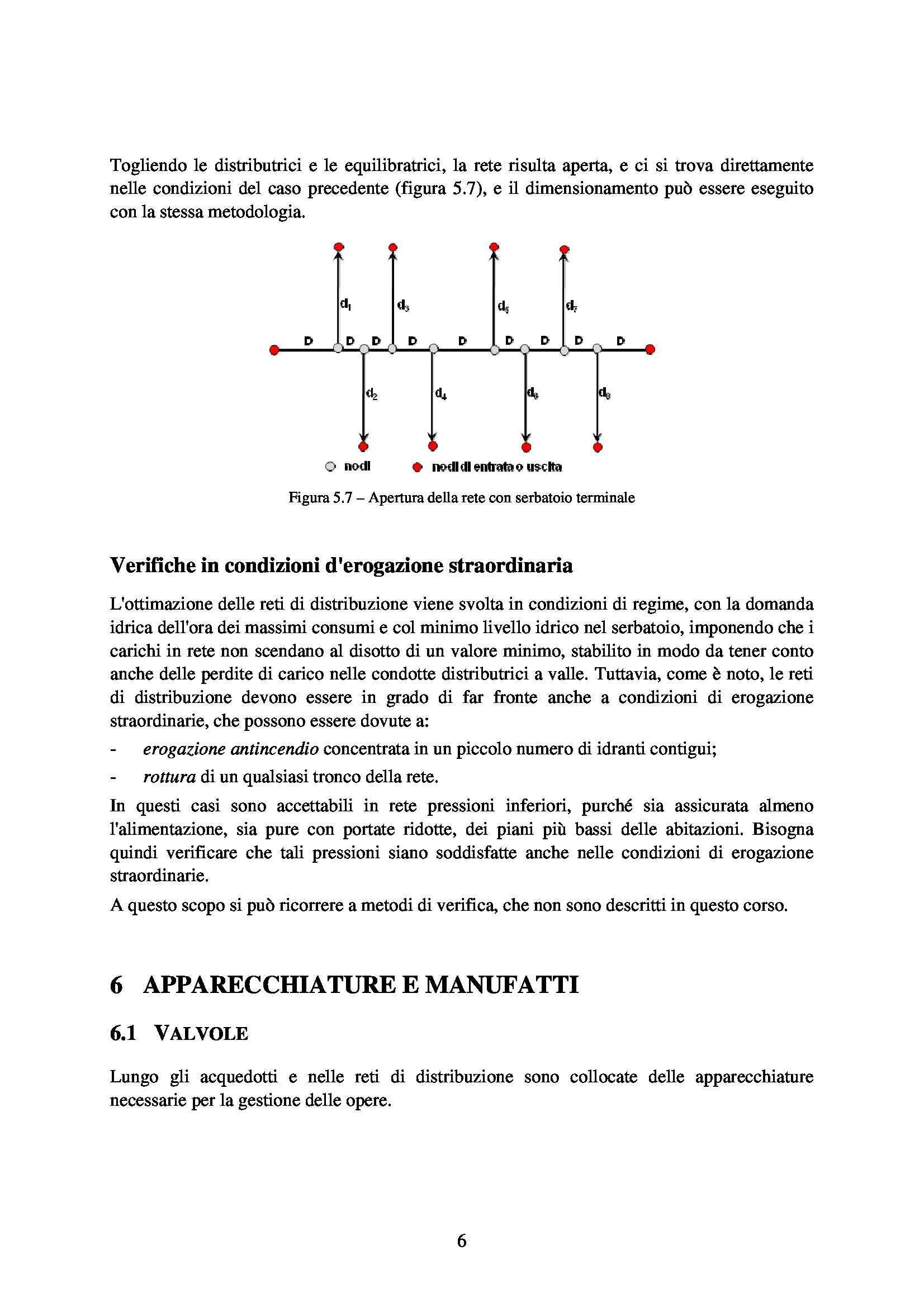 Elementi di infrastrutture idrauliche - reti di distribuzione, apparecchiature e manufatti Pag. 6