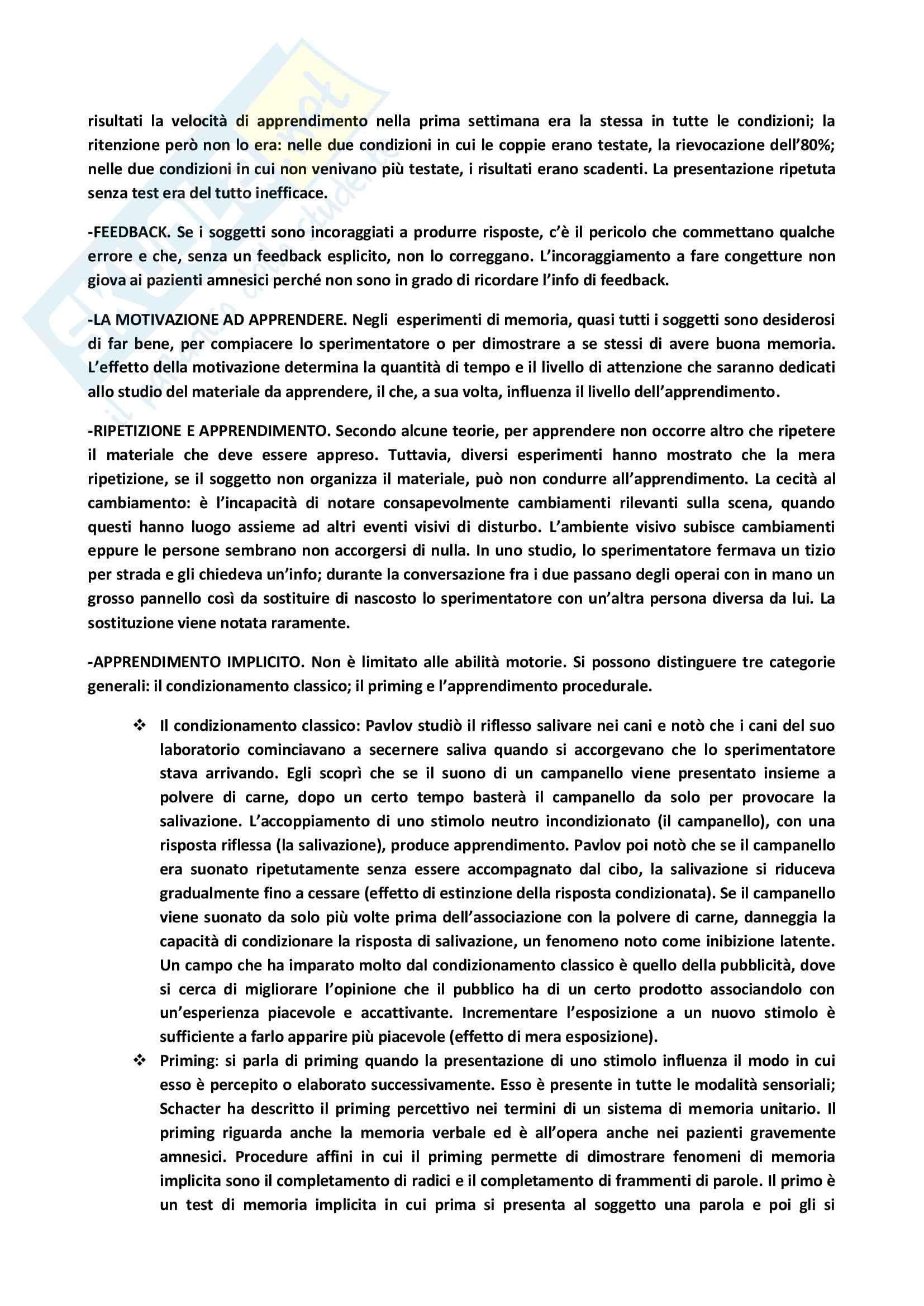 Riassunto esame Psicologia dell'apprendimento e della memoria, docente E.Coluccia, libro consigliato La memoria di A.Baddeley, M.Eysenck, M.Anderson Pag. 11