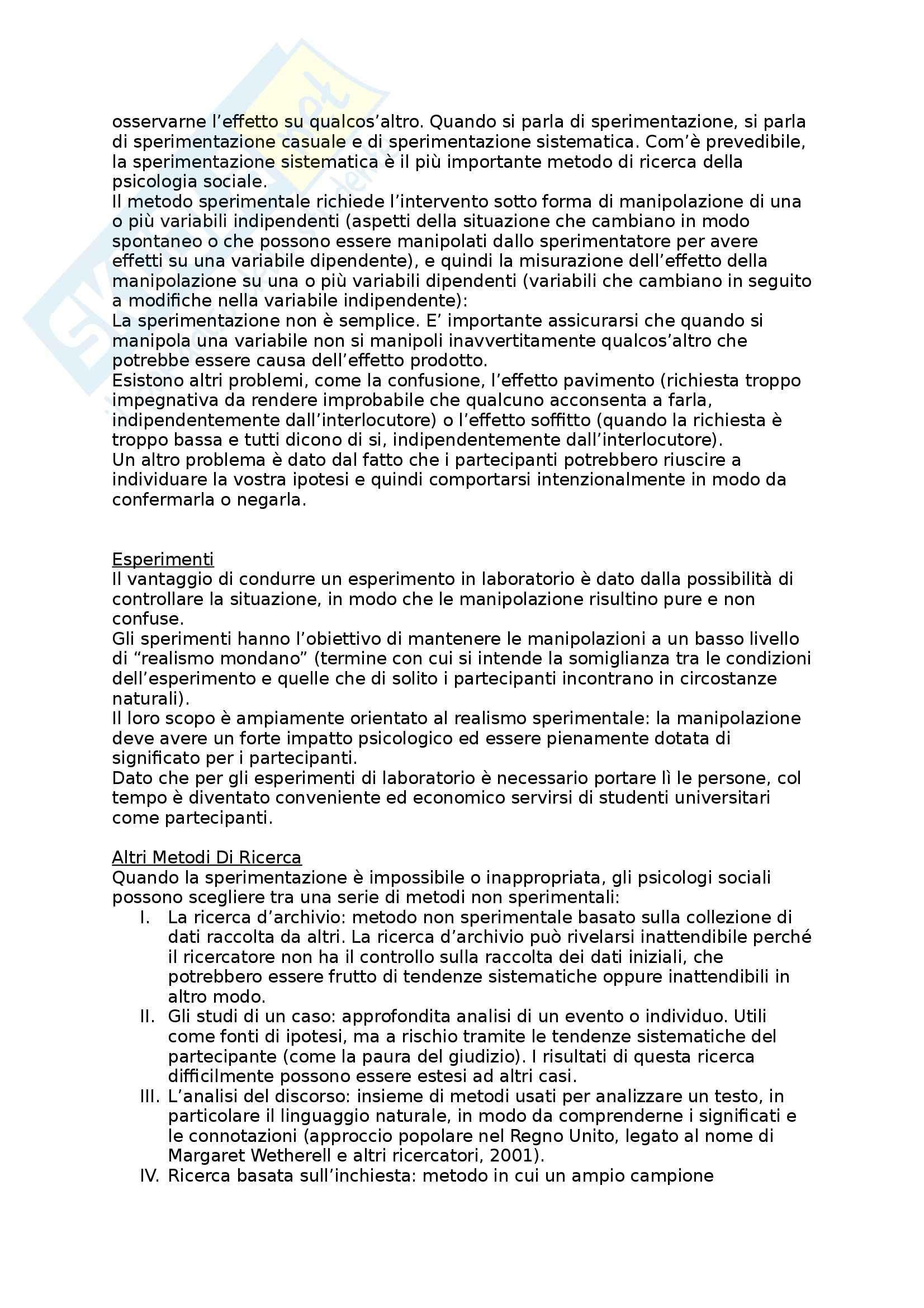 Riassunto esame Psicologia Sociale, prof. Mannarini, libro consigliato Psicologia Sociale, Teorie e Applicazioni, Hogg, Vaughan Pag. 2
