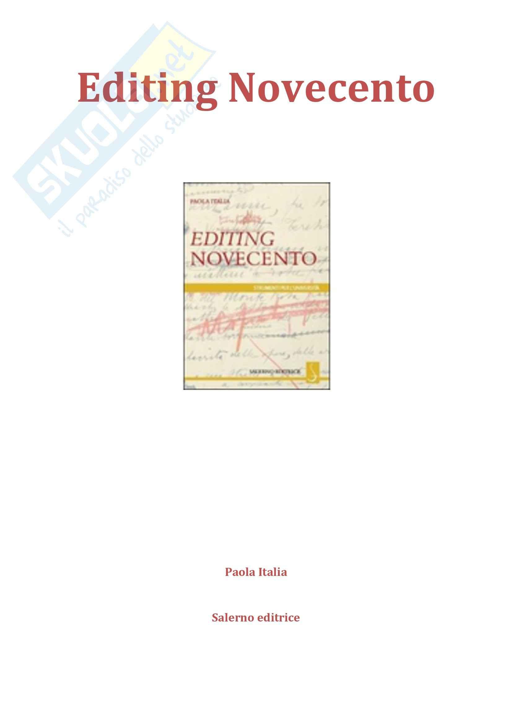 Riassunto esame e appunti, prof. Arbizzoni, libro consigliato Editing Novecento