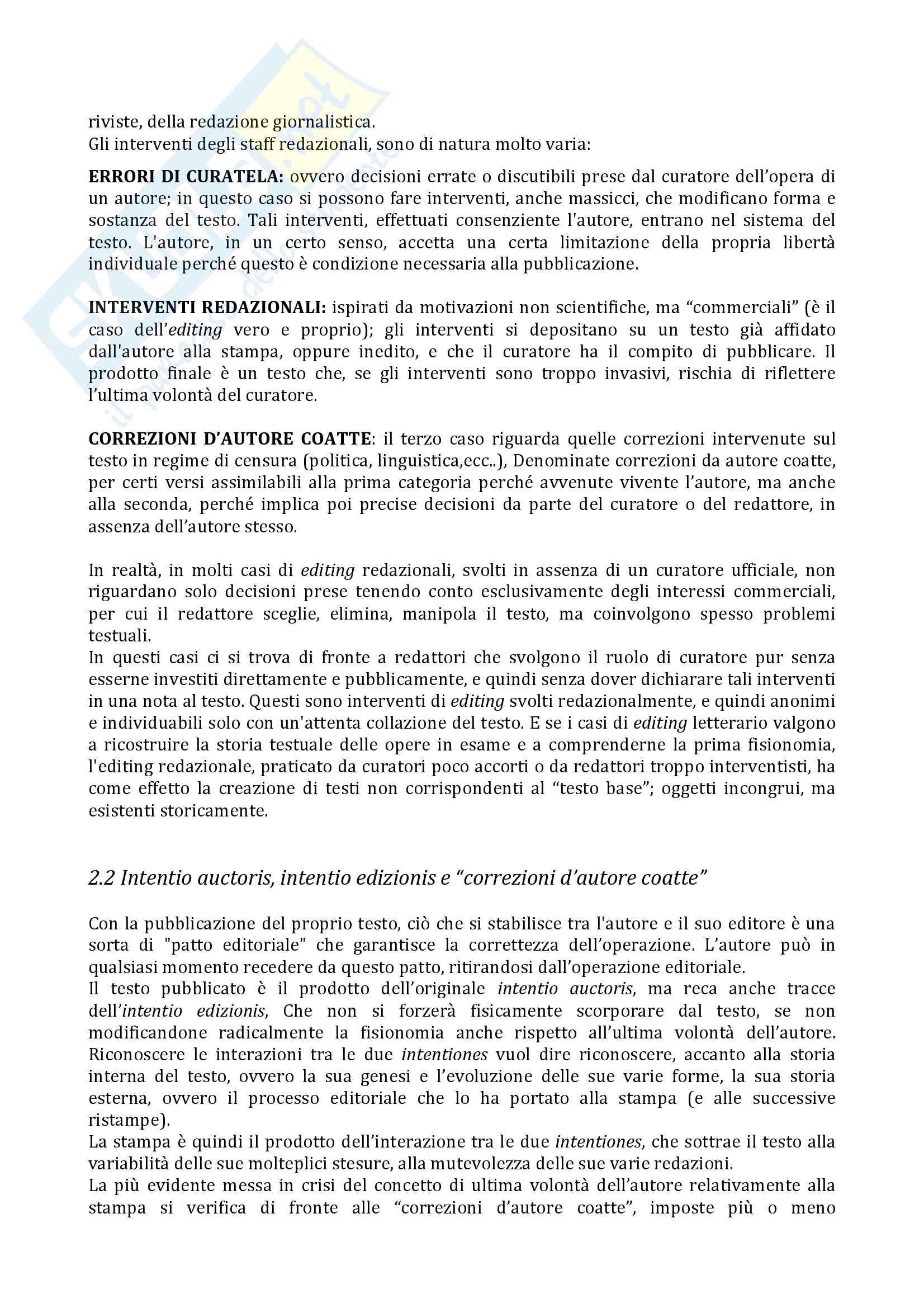 Riassunto esame e appunti, prof. Arbizzoni, libro consigliato Editing Novecento Pag. 11