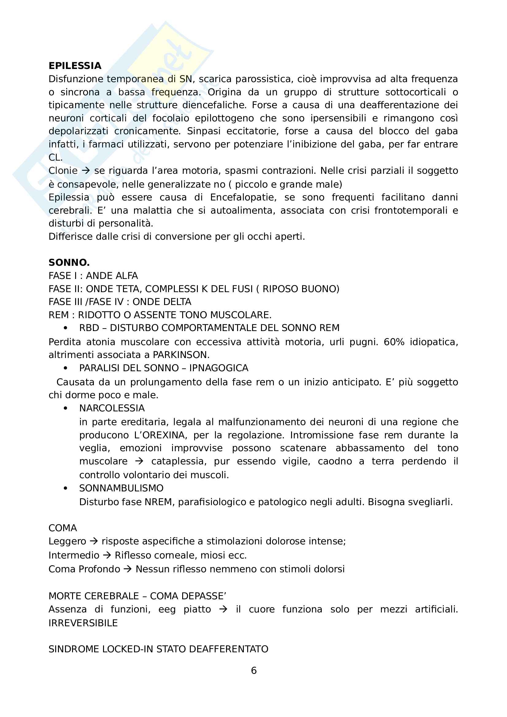 Elementi di Neurologia e Neuroriabilitazione - Riassunto schema Pag. 6