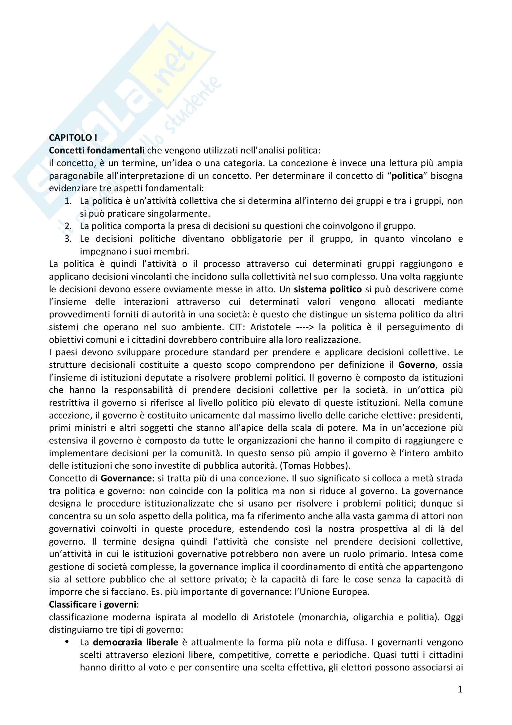 Riassunto esame Scienza Politica, prof. Ravazzi, libro consigliato Manuale di scienza politica