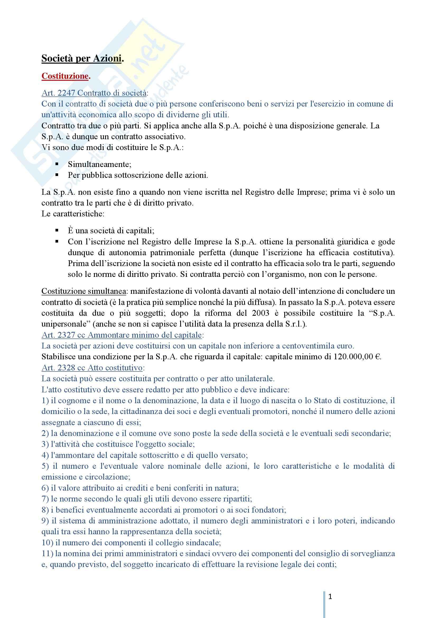 Diritto Commerciale 2 - Le società di capitali e le società cooperative