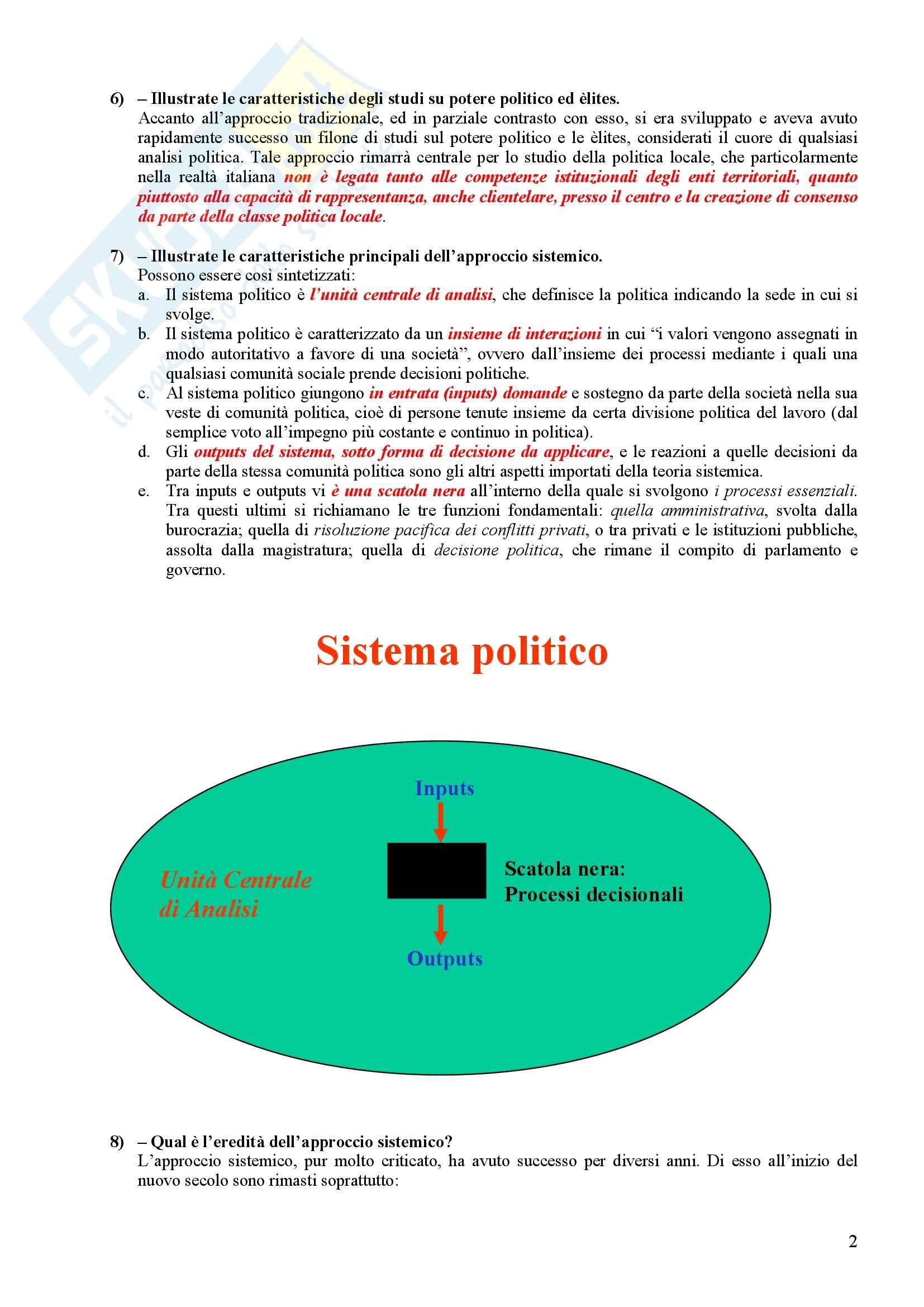 Scienza politica - Domande e risposte Pag. 2