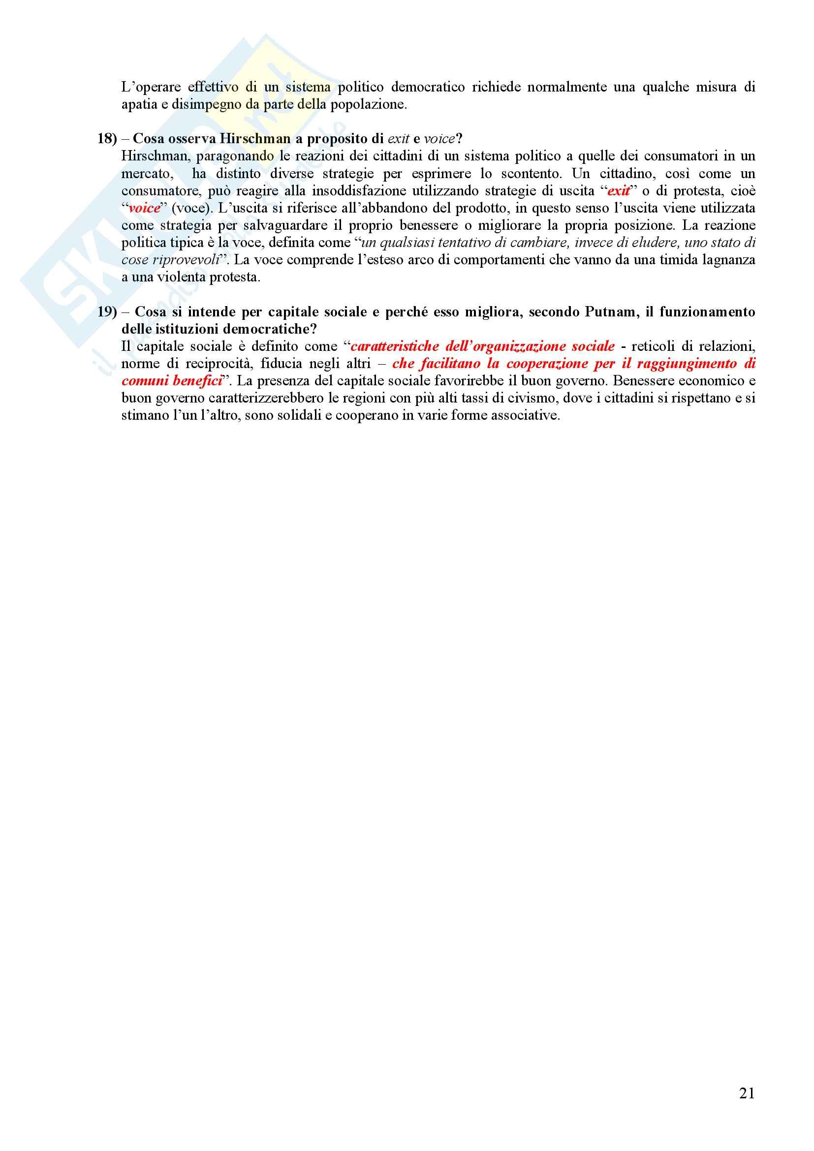 Scienza politica - Domande e risposte Pag. 21