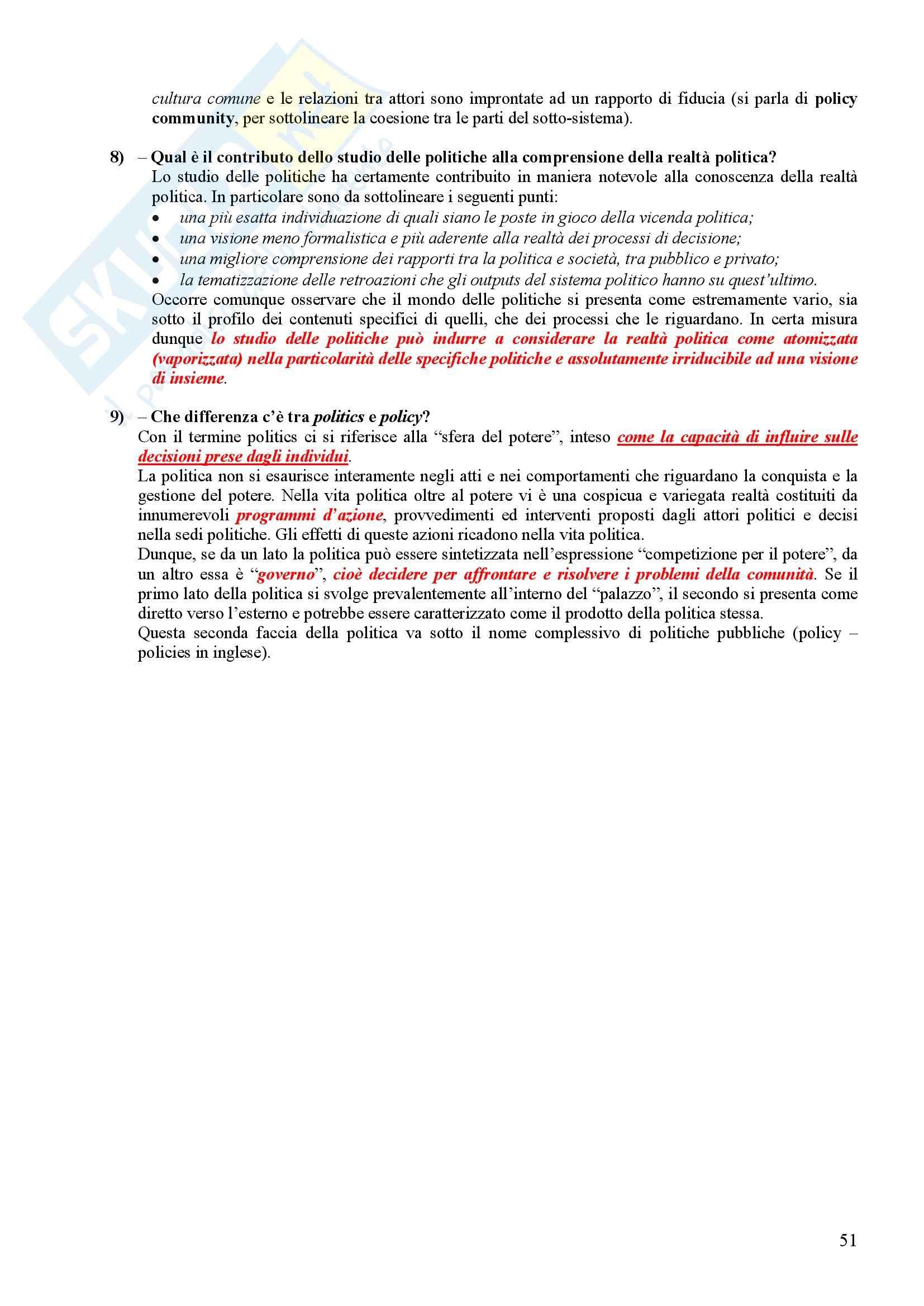 Scienza politica - Domande e risposte Pag. 51