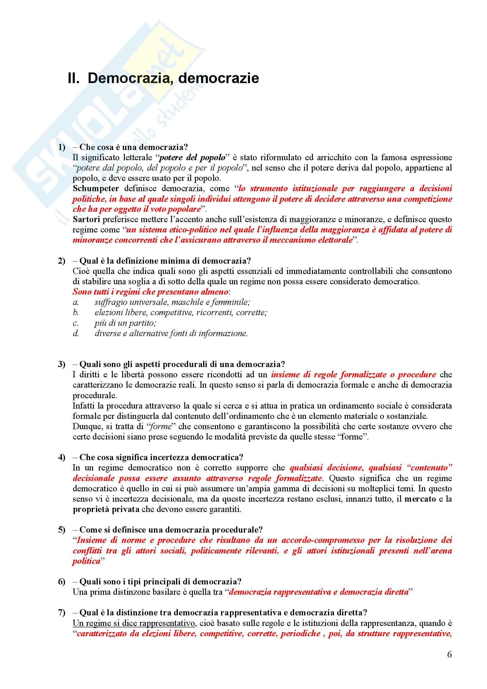 Scienza politica - Domande e risposte Pag. 6