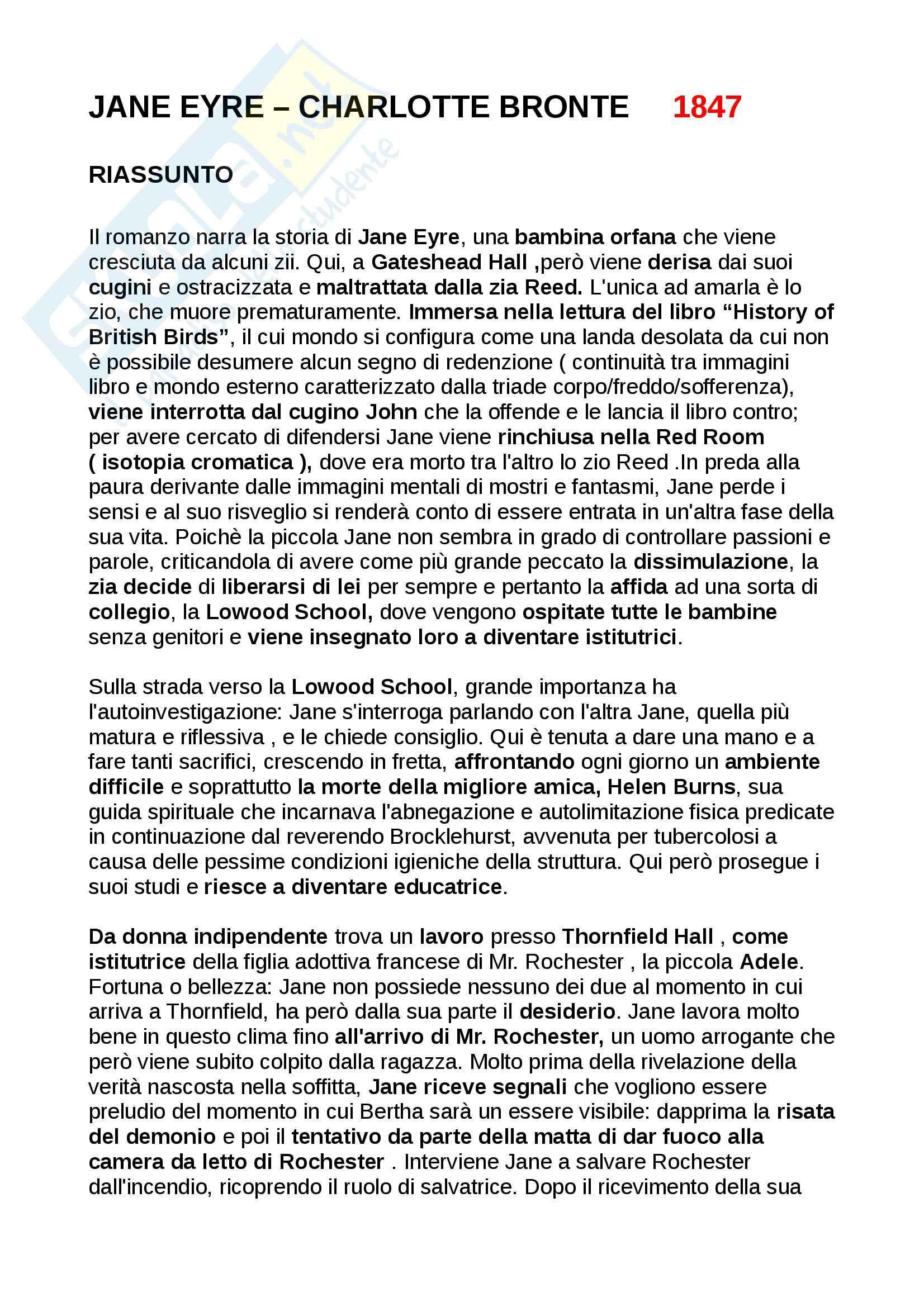 Jane Eyre riassunto + analisi sintetica e completa di ogni aspetto + Riassunto Charlotte Bronte