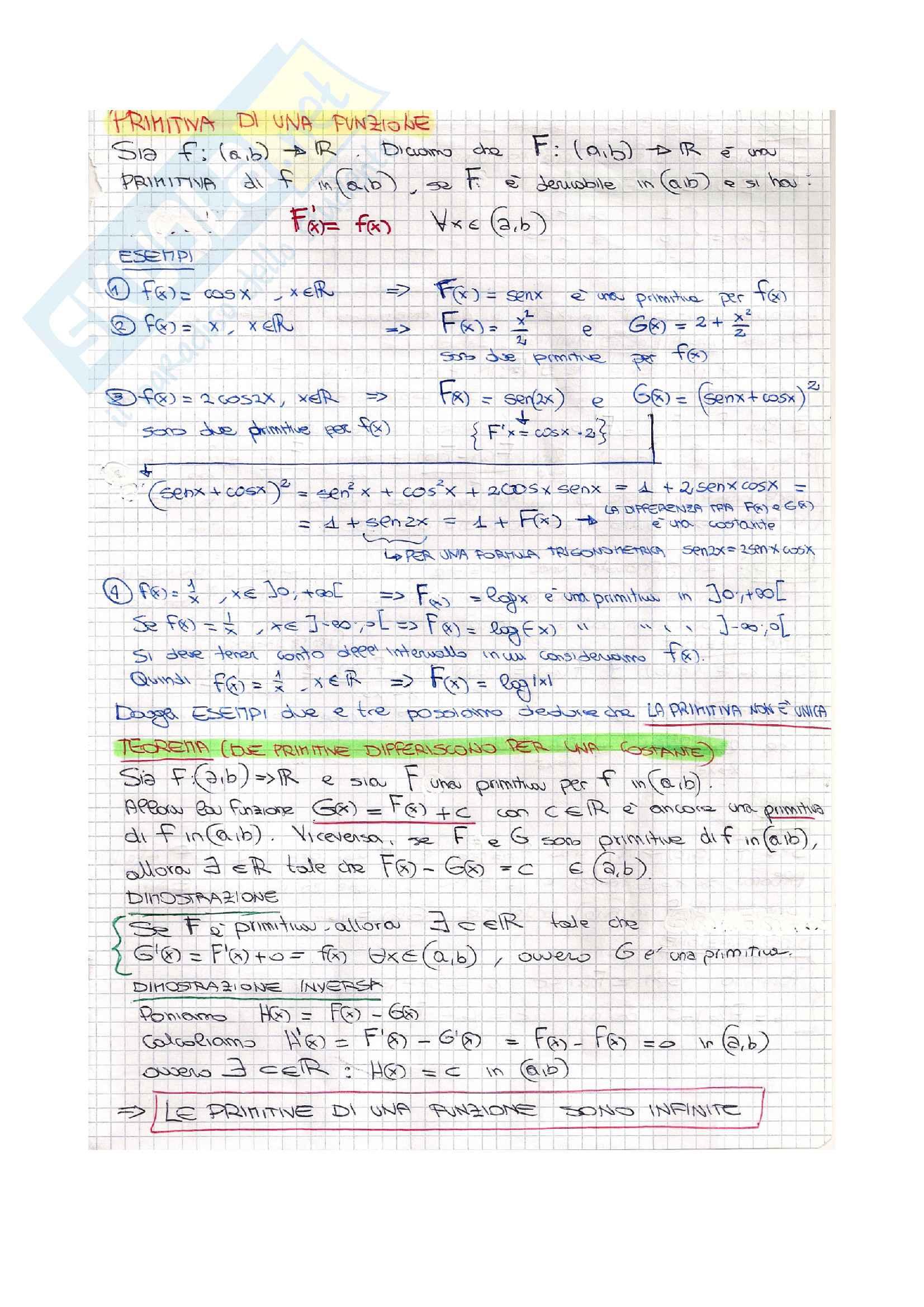 Integrali indefiniti -  Analisi 1 Pag. 2