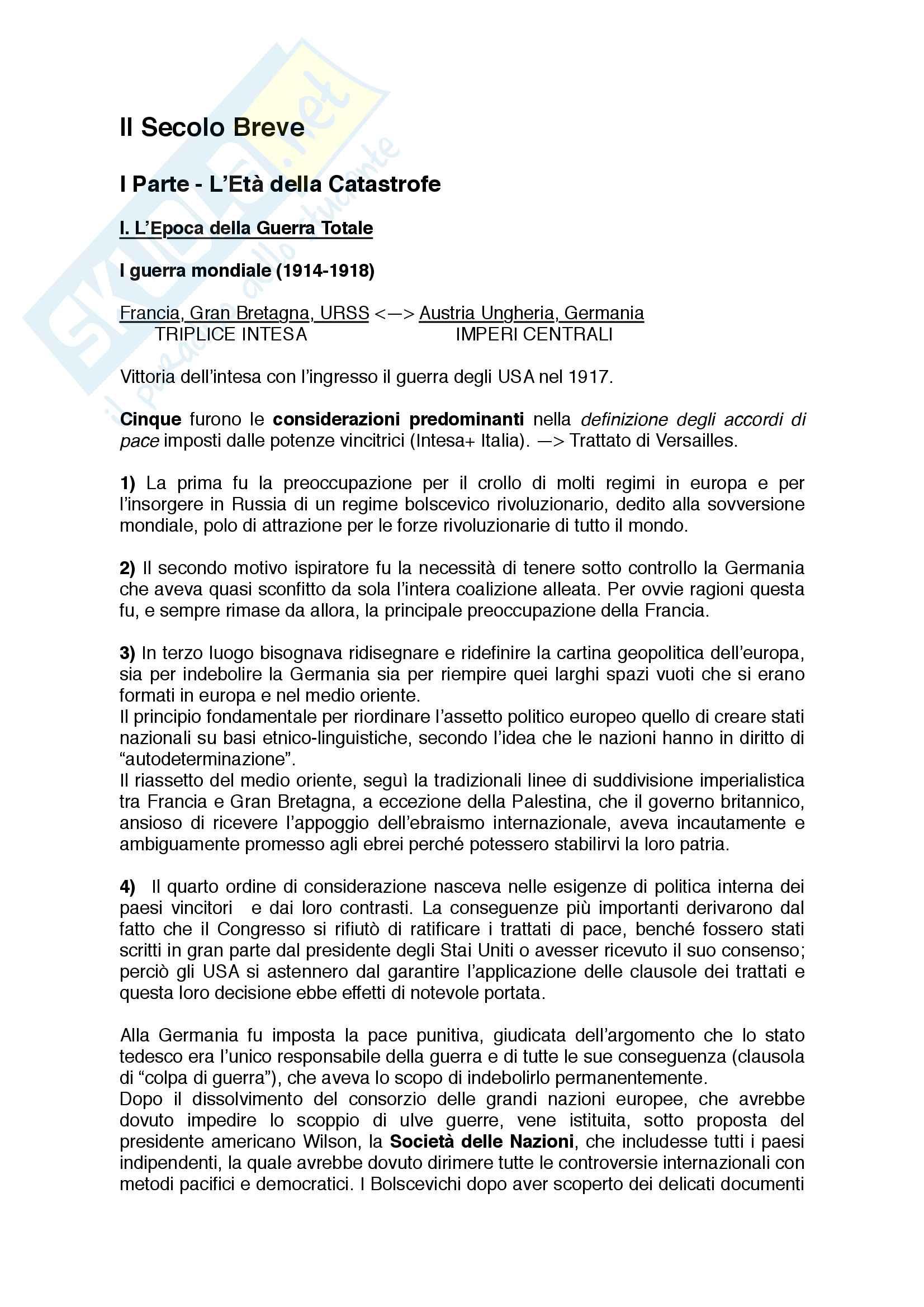Riassunto esame Storia Contemporanea, Docente Davide Baviello, Università degli Studi di Firenze