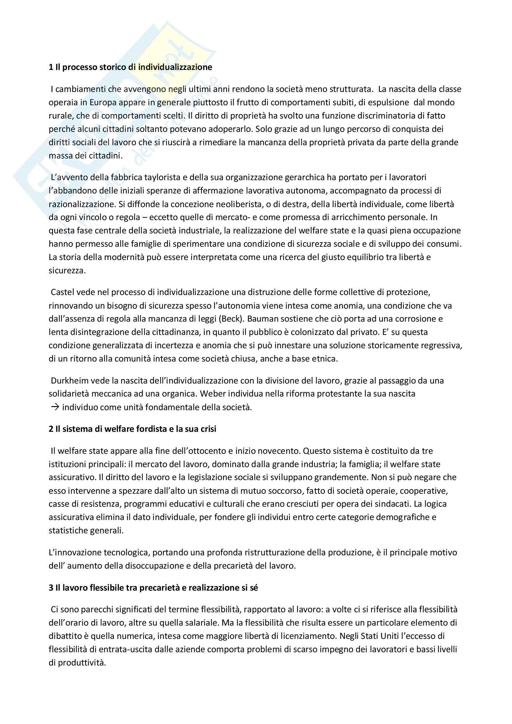 Riassunto esame Nuovi lavori, nuovo welfare, Paci, prof. Calza