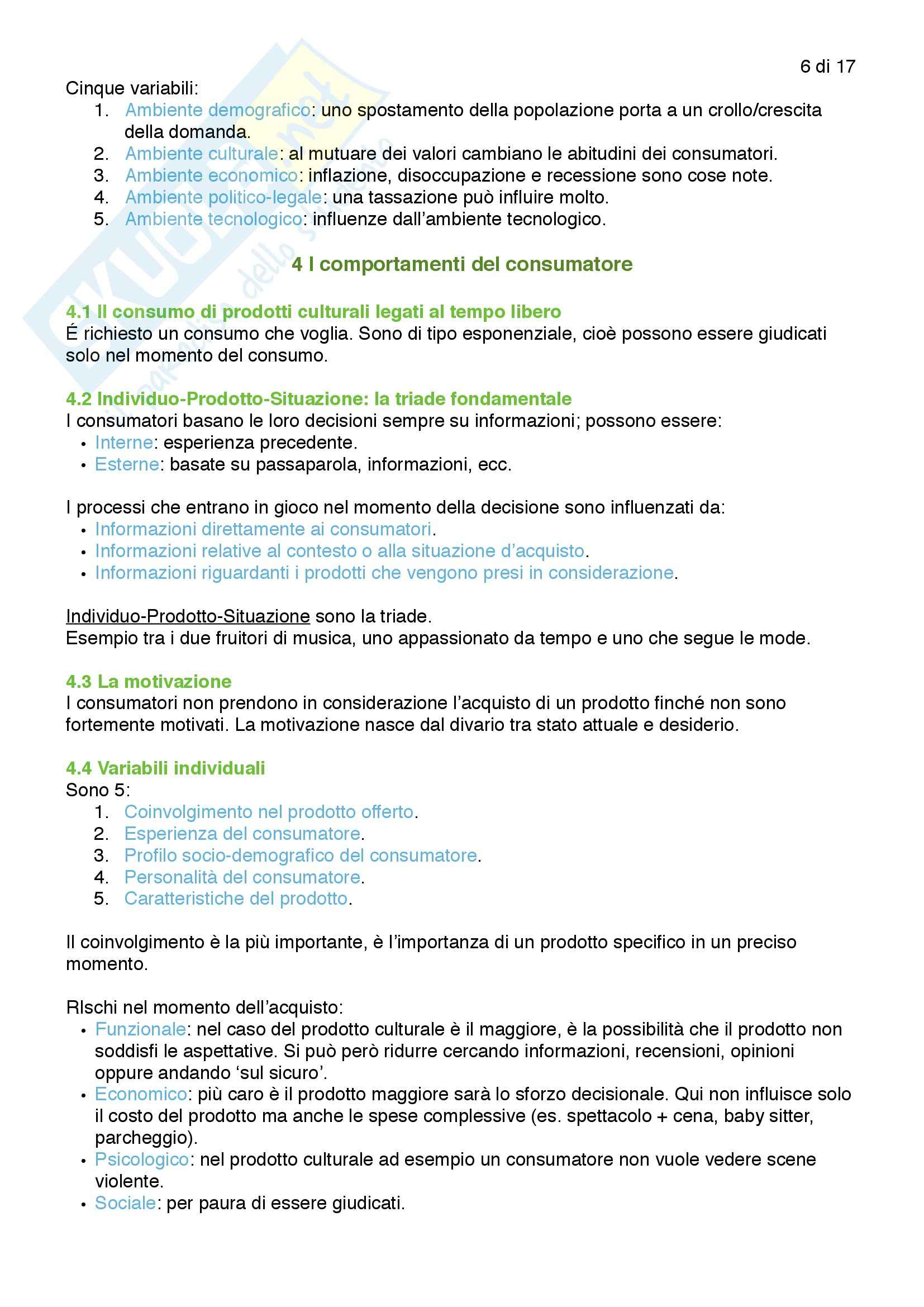 Riassunto esame Gestione degli Eventi, prof. Monno, libro consigliato Marketing delle Arti e della Cultura, Colbert Pag. 6